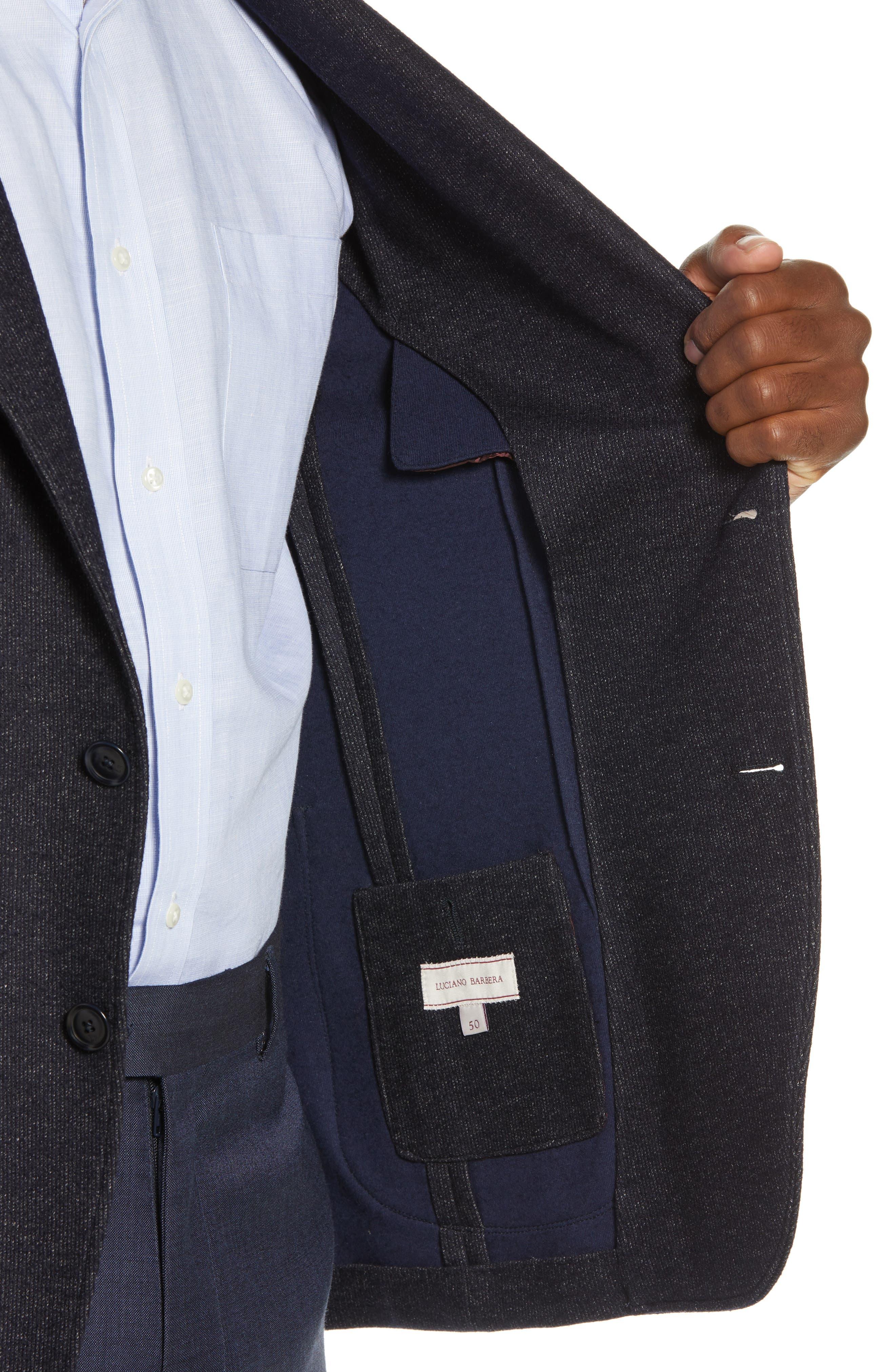 Trim Fit Cotton Blend Blazer,                             Alternate thumbnail 4, color,                             NAVY