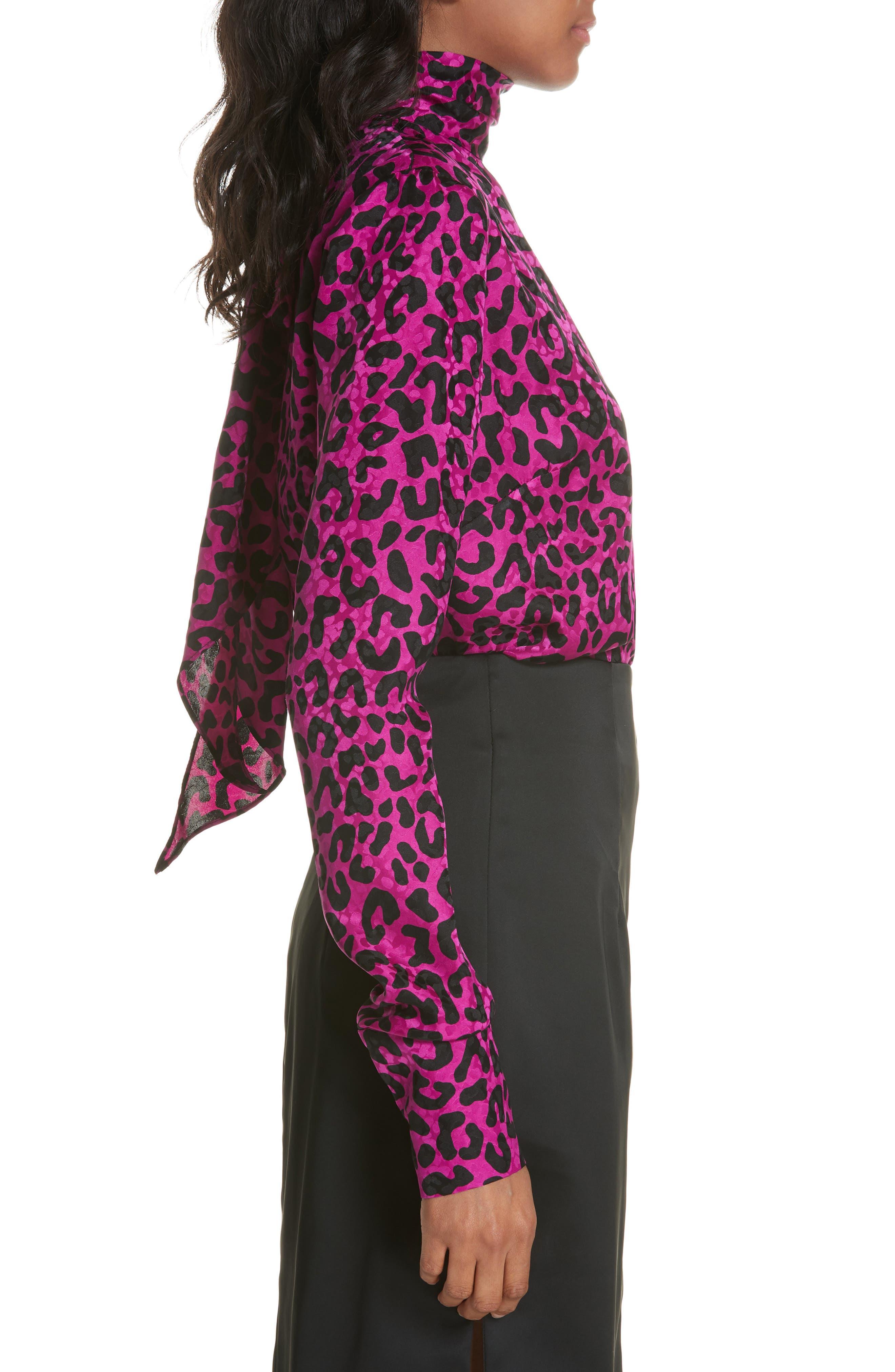 Leopard Print Silk Jacquard Top,                             Alternate thumbnail 3, color,                             673