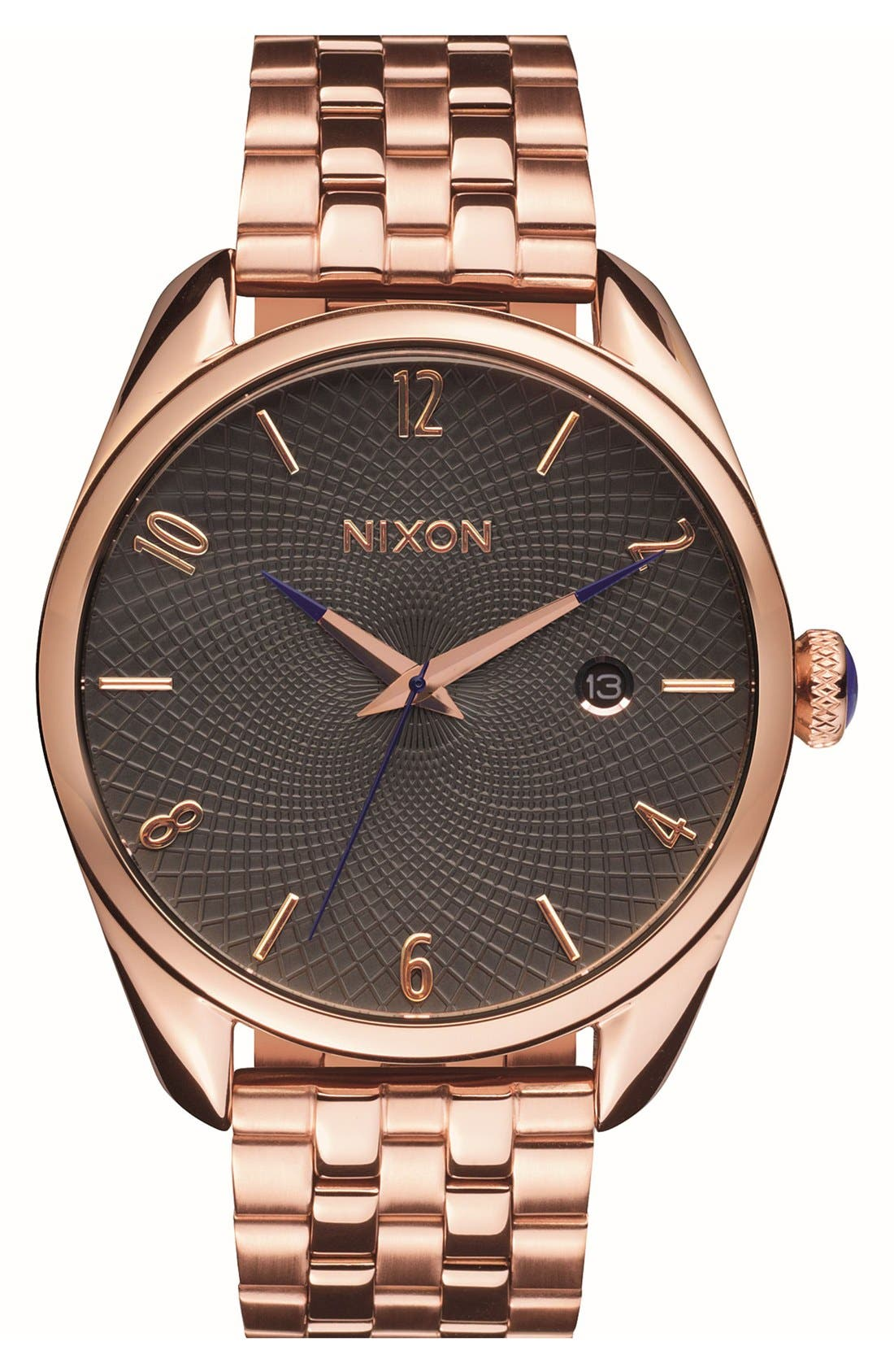 'Bullet' Guilloche Dial Bracelet Watch, 38mm,                         Main,                         color, ROSE GOLD/ GUNMETAL