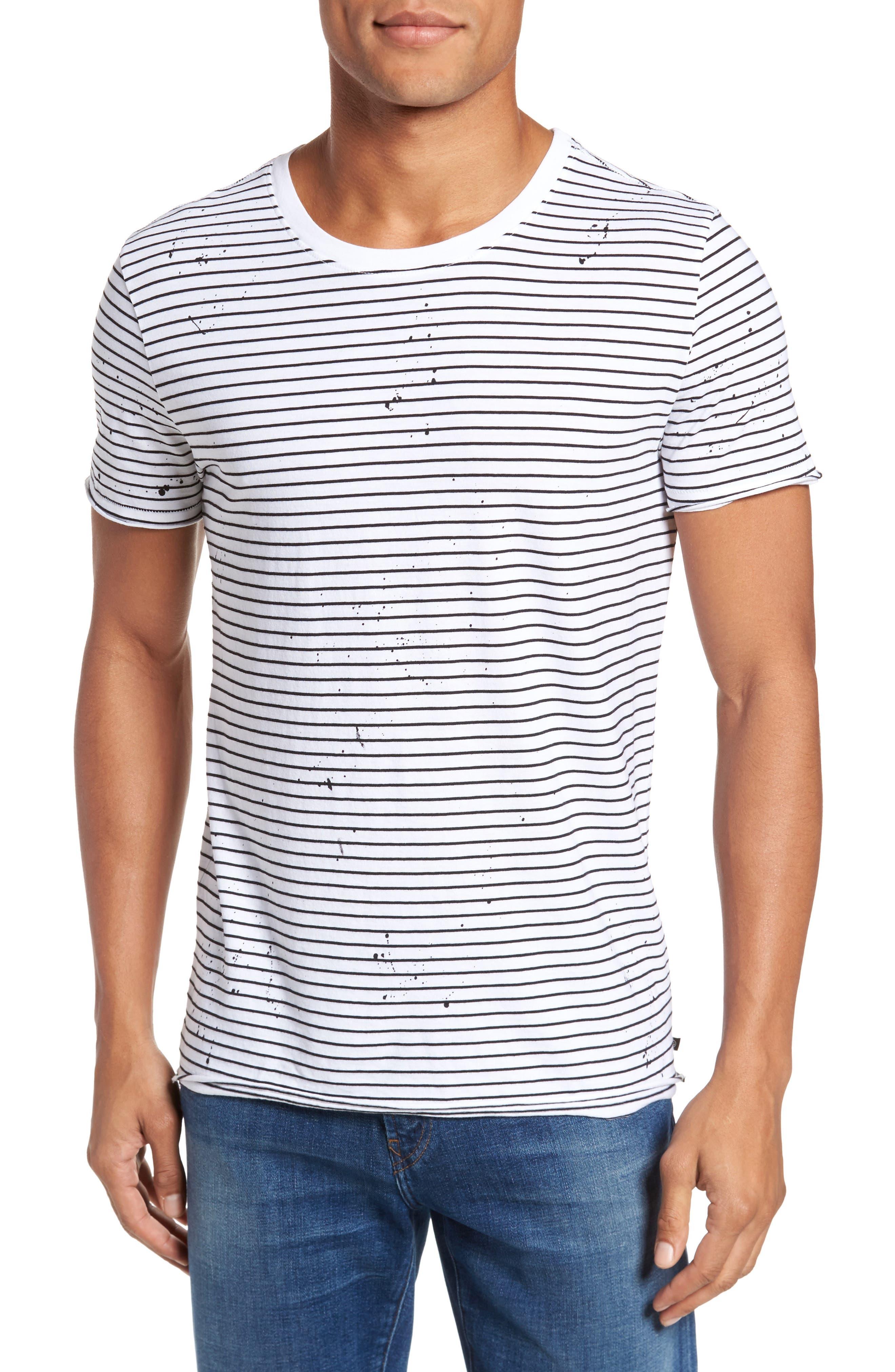 Julian Slim Fit Stripe Raw T-Shirt,                             Main thumbnail 1, color,                             100