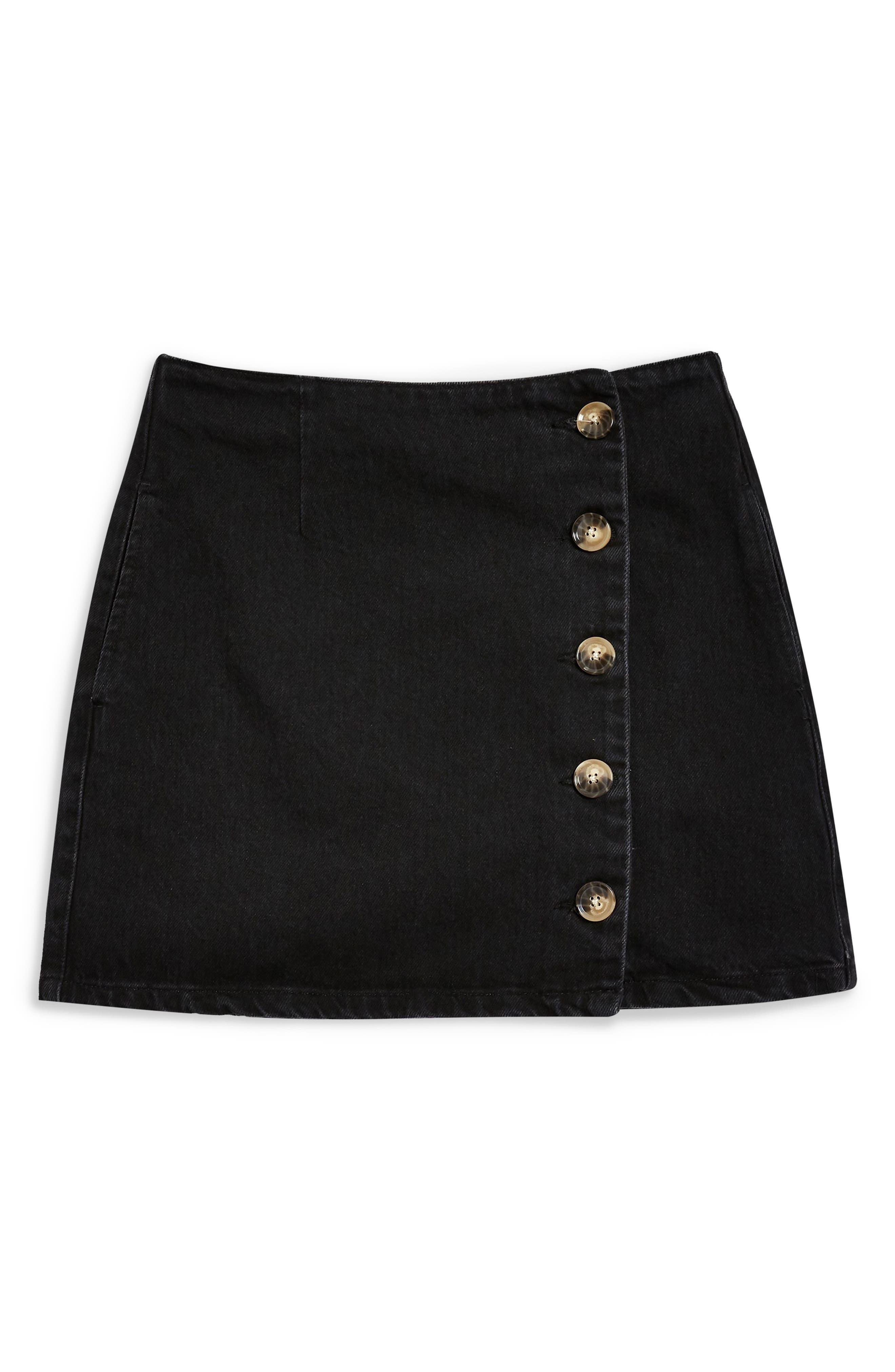 Horn Button Denim Miniskirt,                             Alternate thumbnail 3, color,                             WASHED BLACK