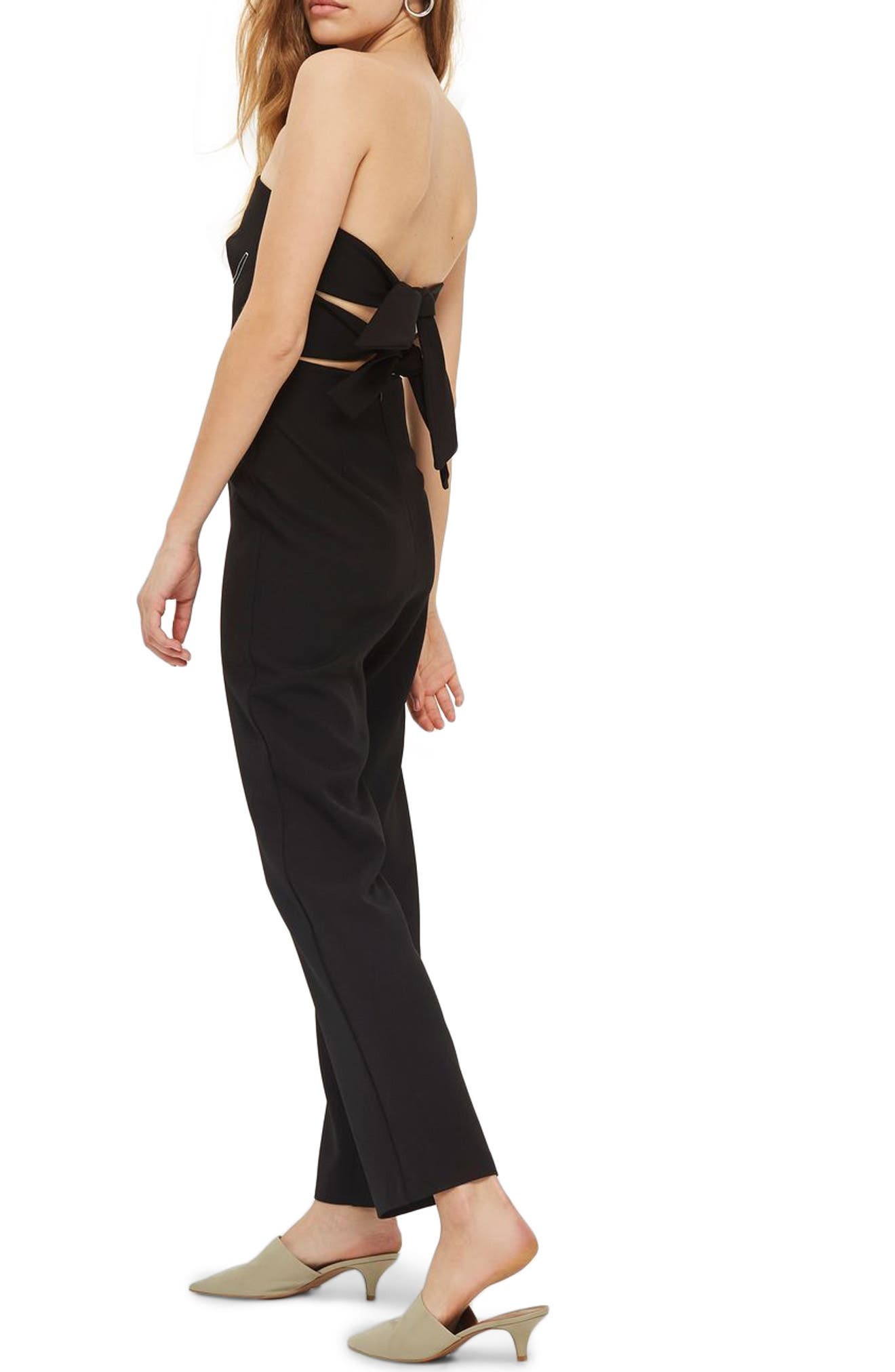 Constrast Stitch Strapless Jumpsuit,                             Alternate thumbnail 2, color,