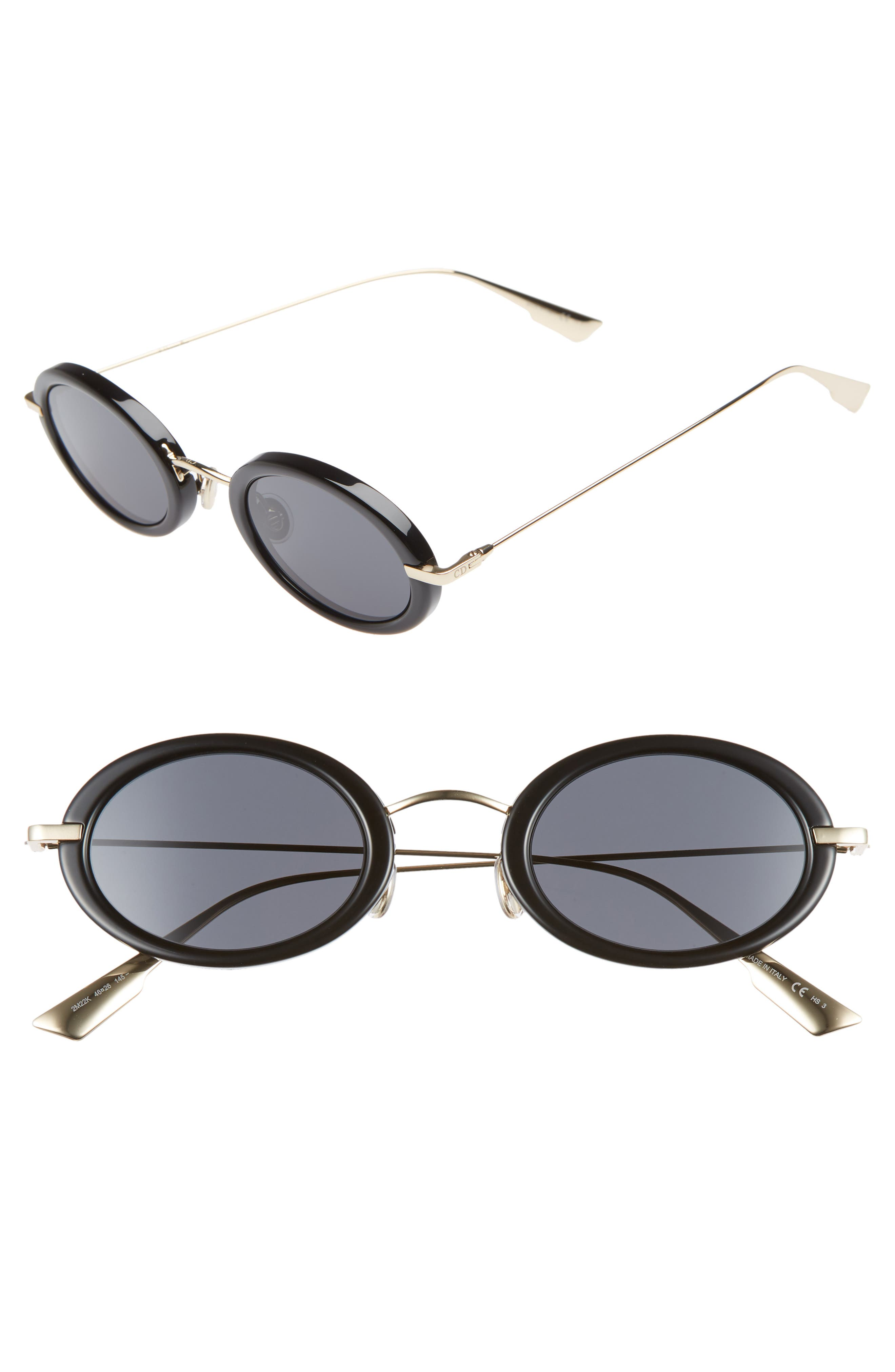 Christian Dior Hypnotic2 46mm Round Sunglasses,                             Main thumbnail 1, color,                             BLACK/ ANTIREFLECTIVE/ GOLD