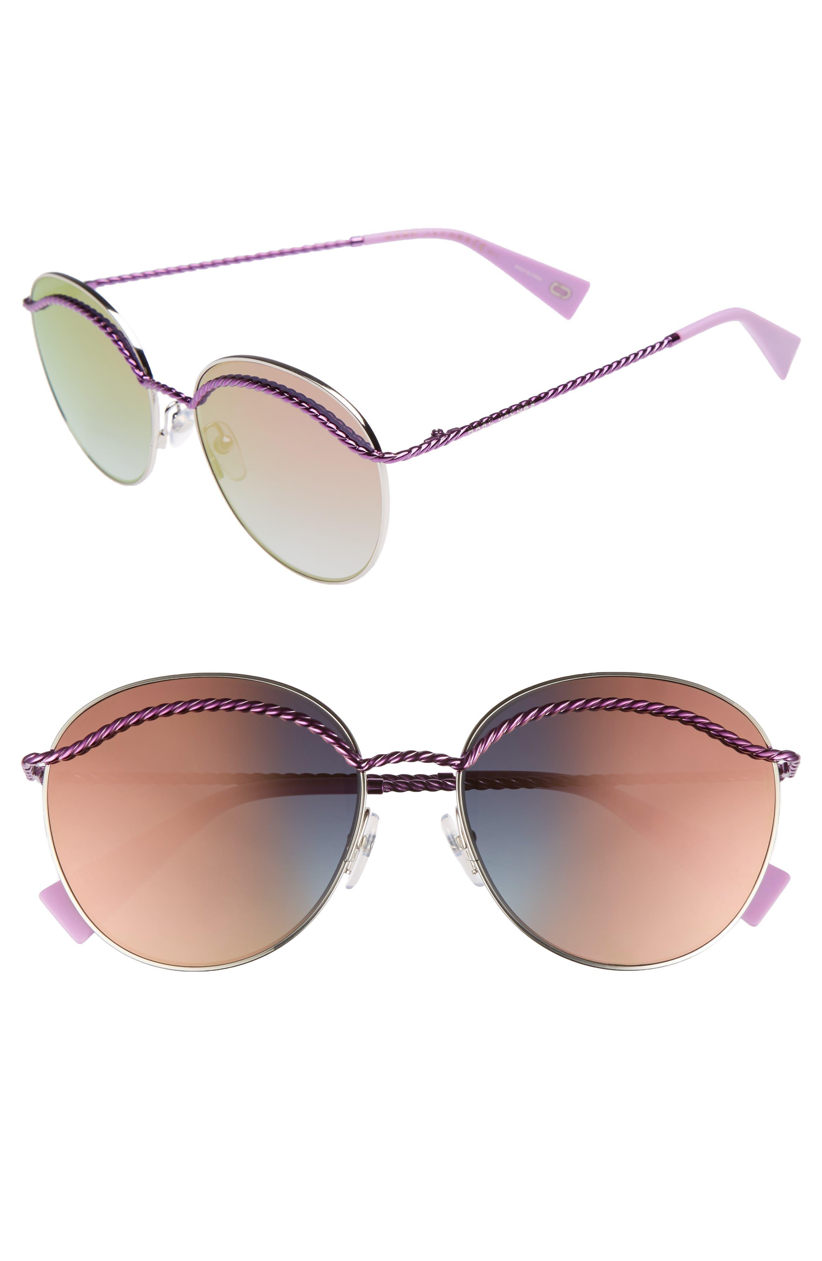 58mm Round Sunglasses,                             Main thumbnail 1, color,                             MATTE MAGENTA