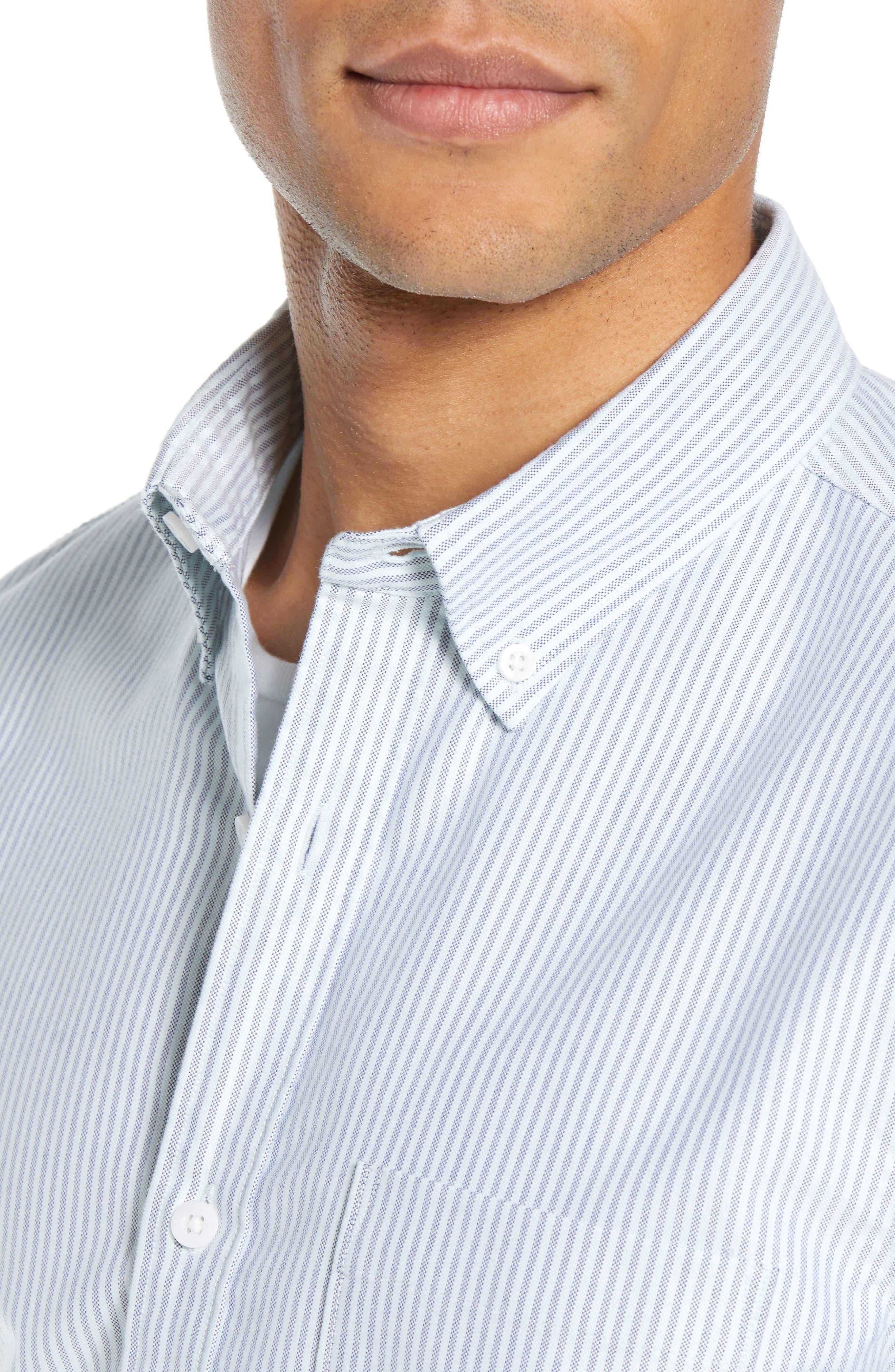 Trim Fit Bengal Stripe Sport Shirt,                             Alternate thumbnail 2, color,                             BLUE ENSIGN MINT STRIPE