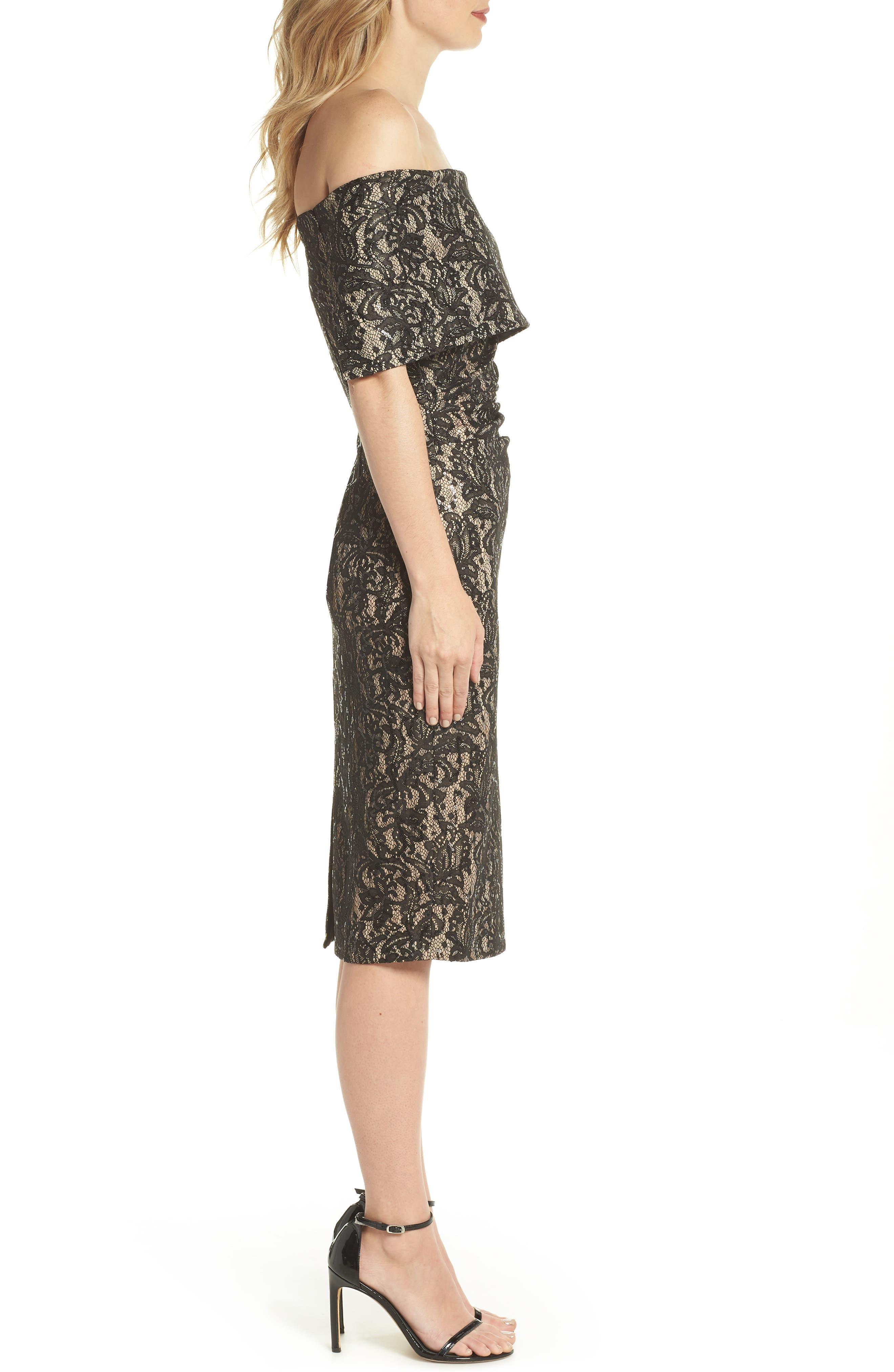 Off the Shoulder Lace Sheath Dress,                             Alternate thumbnail 3, color,                             BLACK TAN