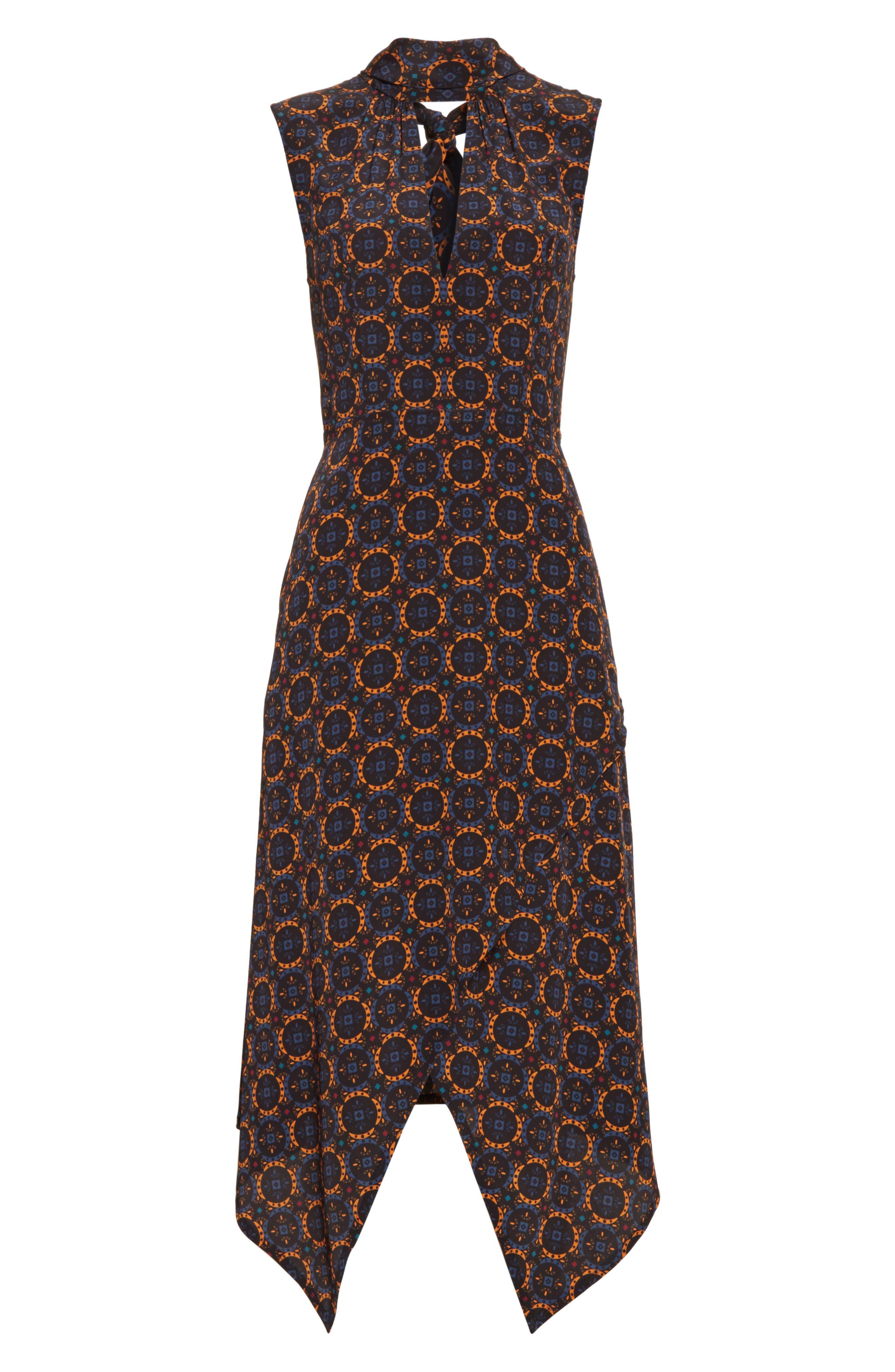 Kerchief A-Line Silk Dress,                             Alternate thumbnail 6, color,                             436