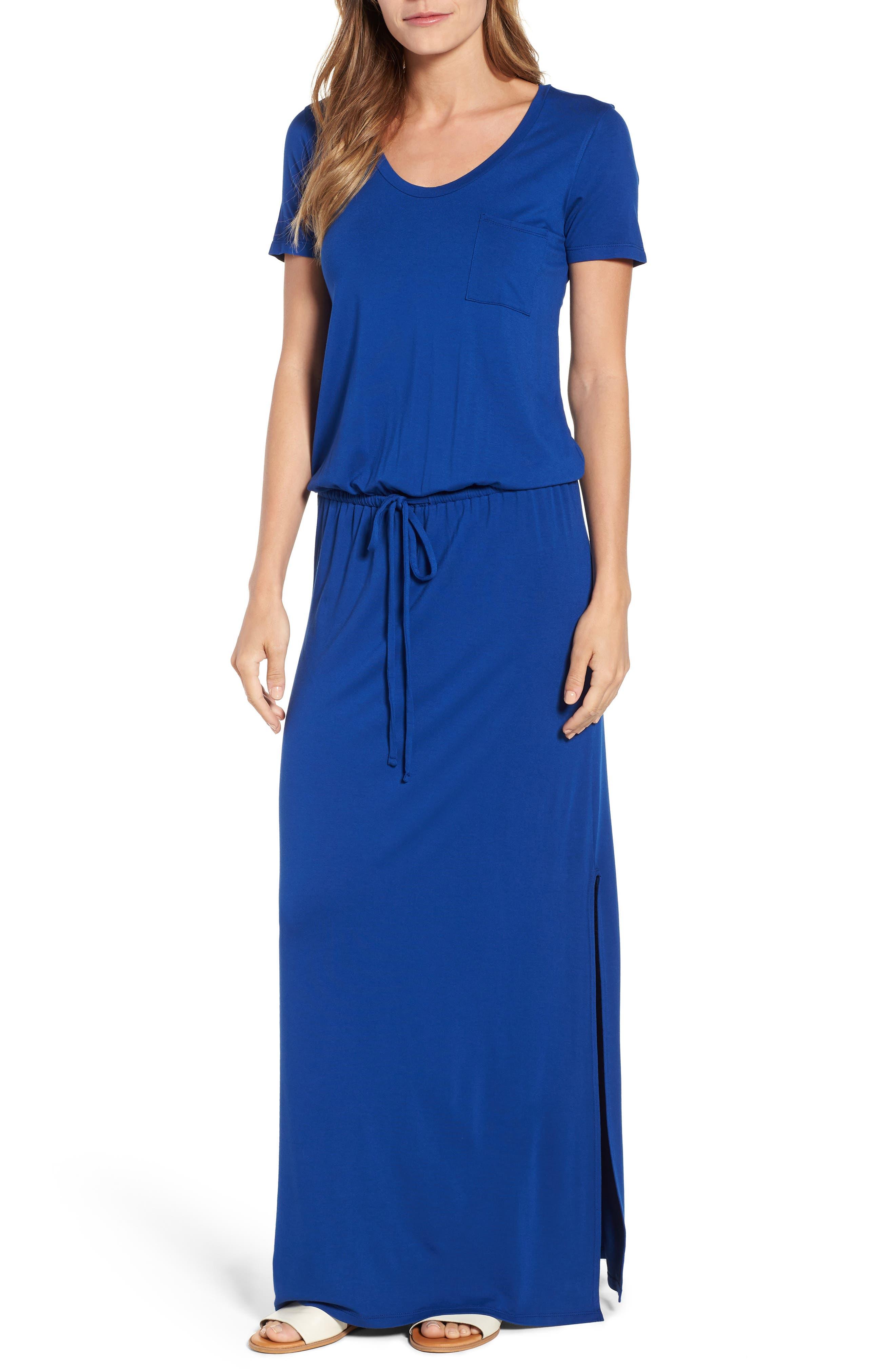 Caslon Drawstring V-Neck Jersey Maxi Dress, Blue