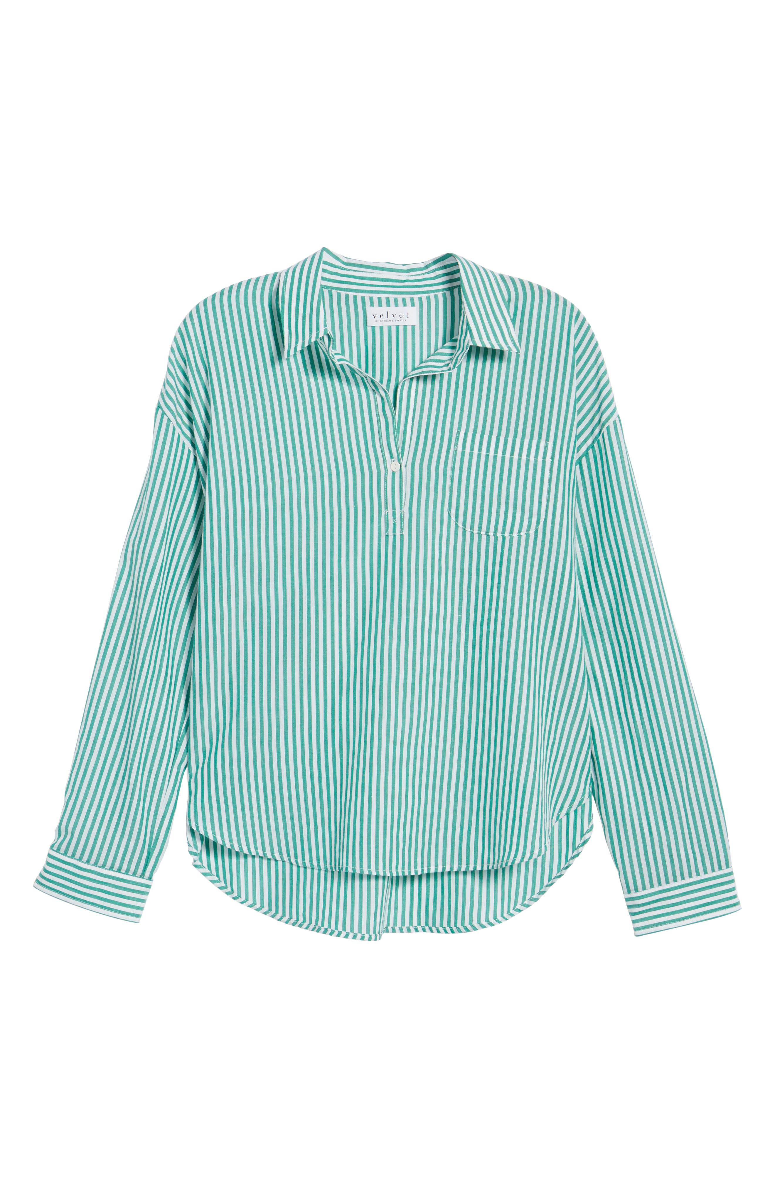Popover Stripe Cotton Shirt,                             Alternate thumbnail 6, color,                             389