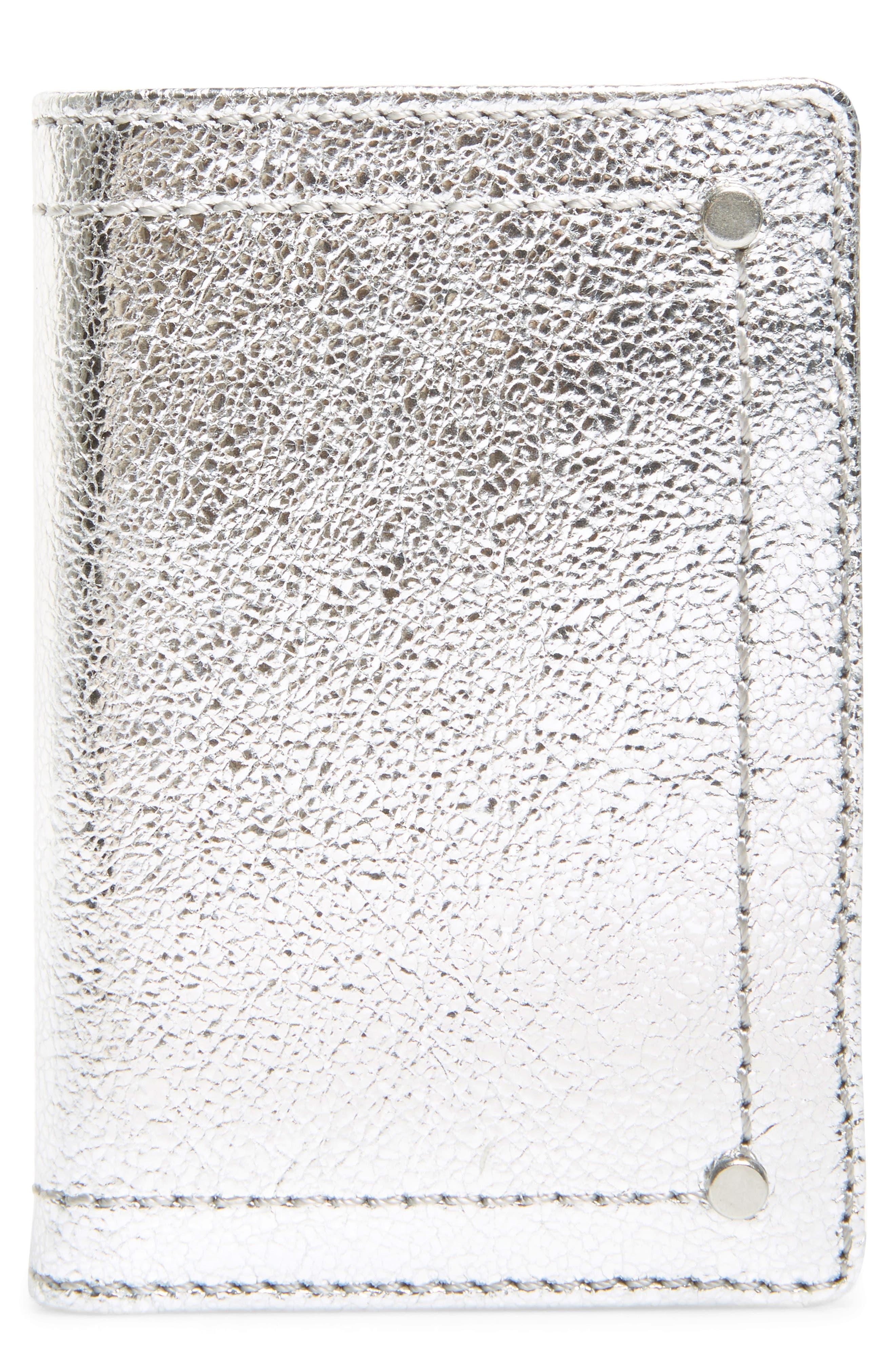 Devon Crackle Leather Card Case, Main, color, SILVER