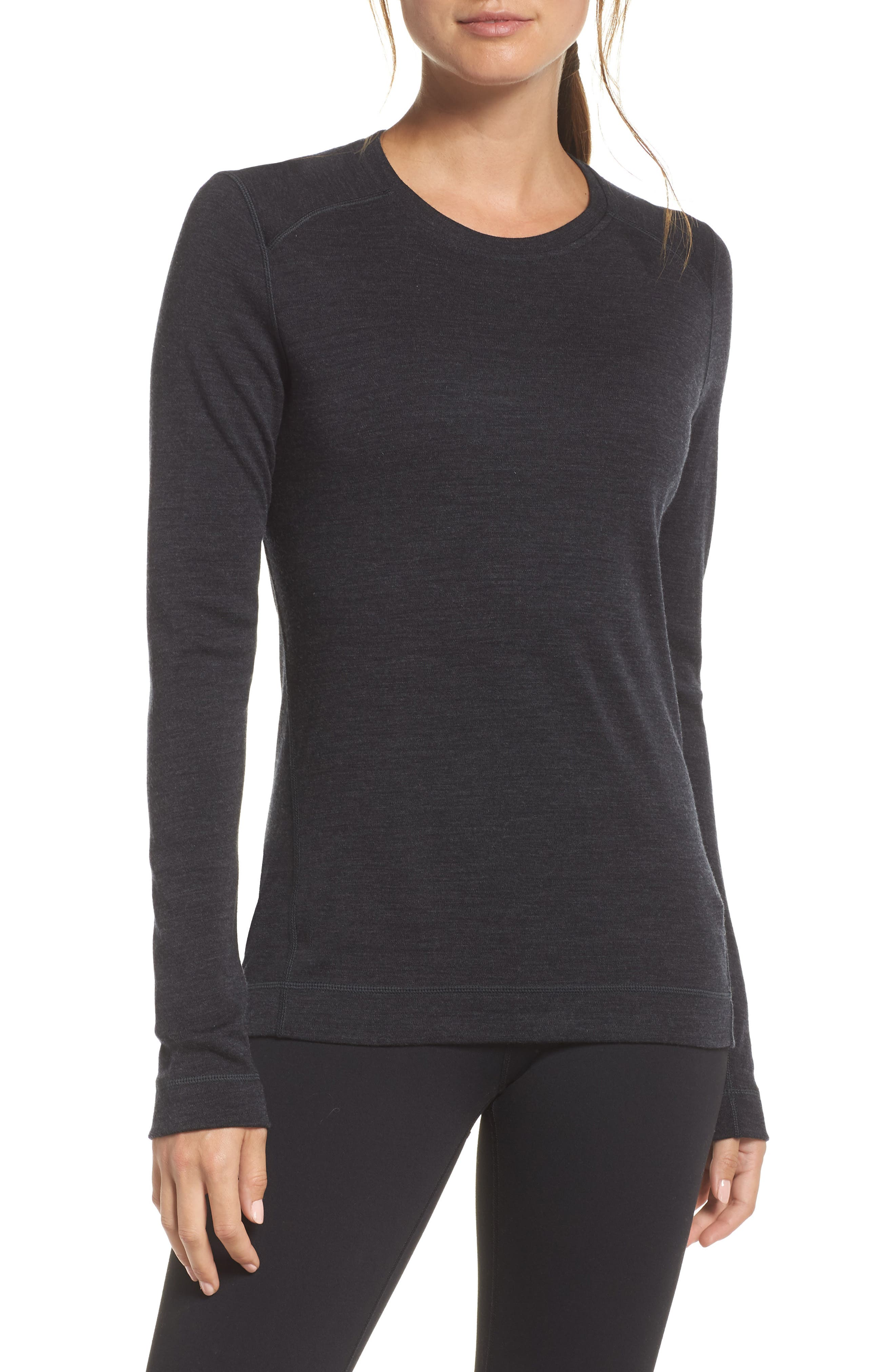Merino 250 Base Layer Crew Top,                         Main,                         color, CHARCOAL HEATHER