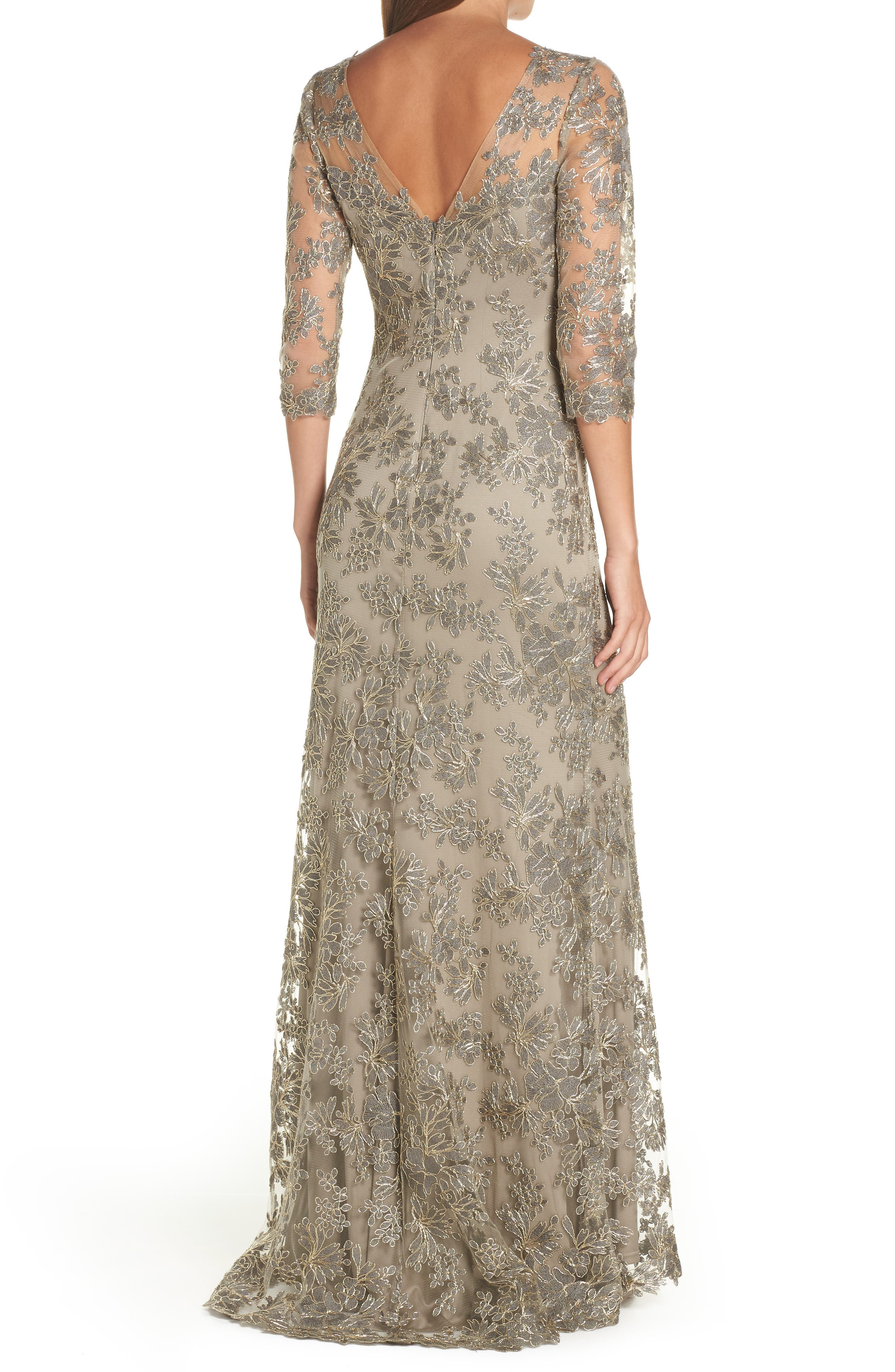TADASHI SHOJI, Corded Embroidered Lace Gown, Alternate thumbnail 2, color, SMOKE PEARL