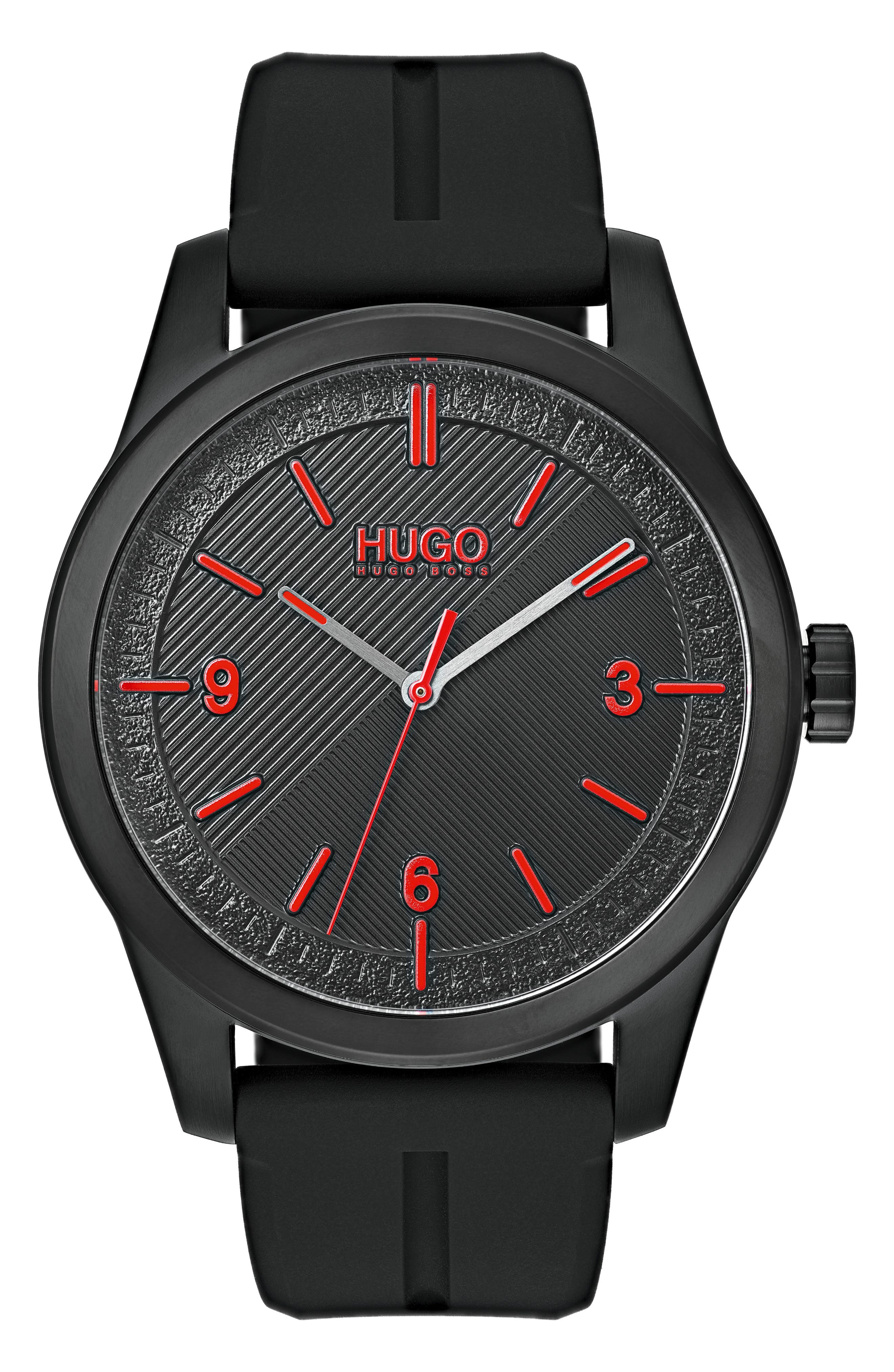 HUGO Automatic Silicone Strap Watch, 40Mm in Black