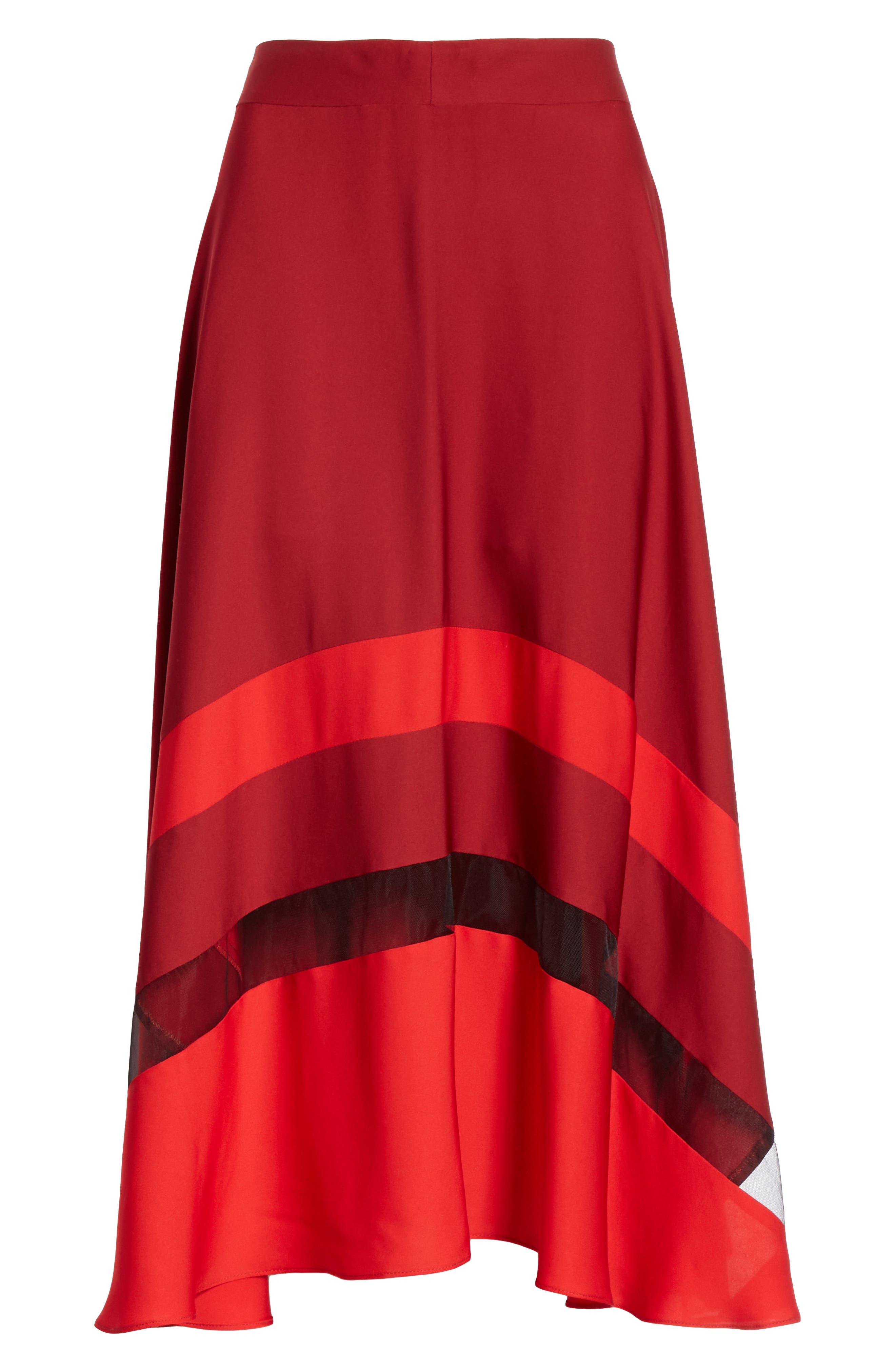 Asymmetrical Stripe Stretch Silk Midi Skirt,                             Alternate thumbnail 6, color,                             BURGUNDY/ RUBY