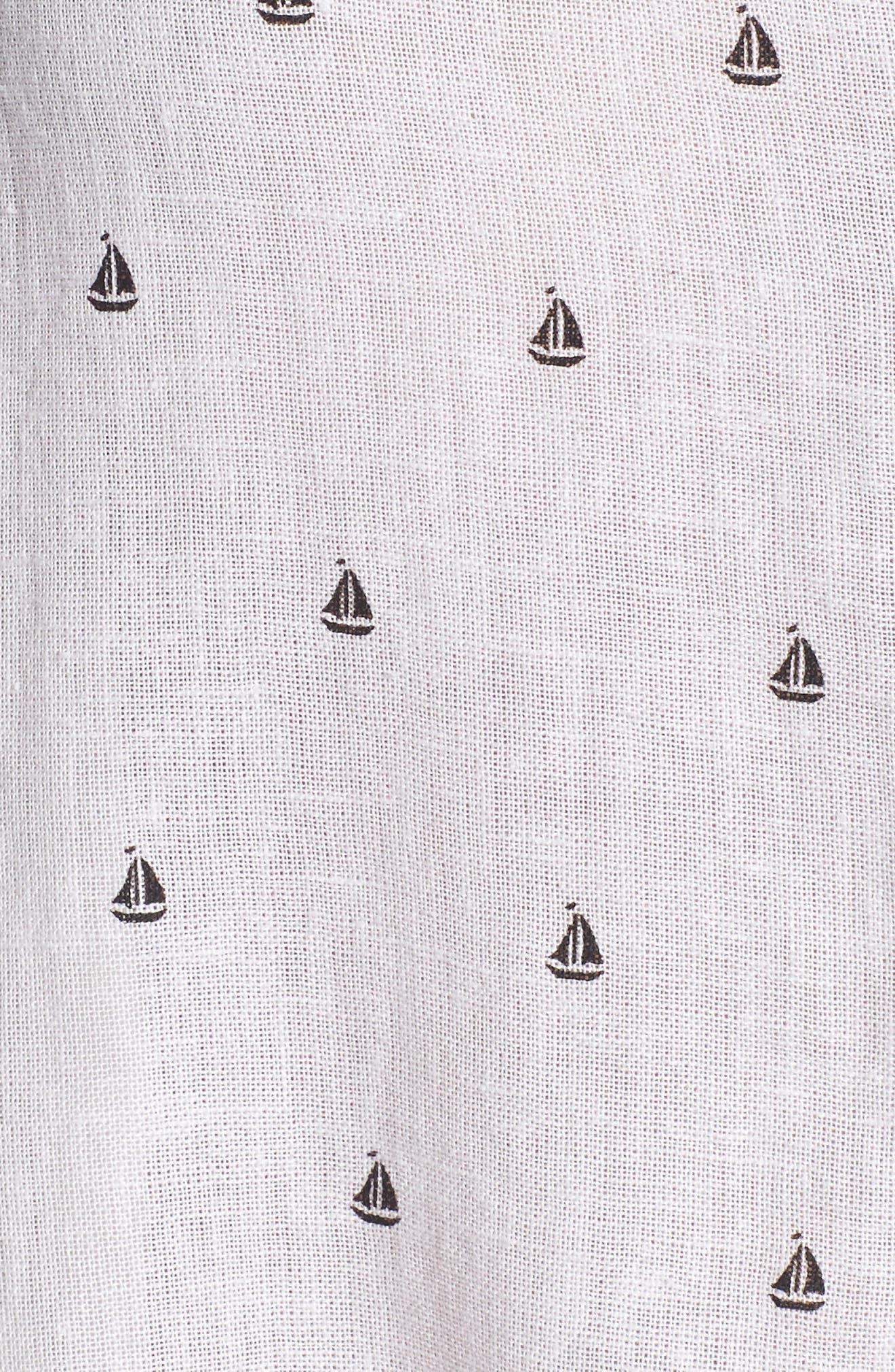 Whitney Sailboat Print Linen Blend Shirt,                             Alternate thumbnail 6, color,                             102
