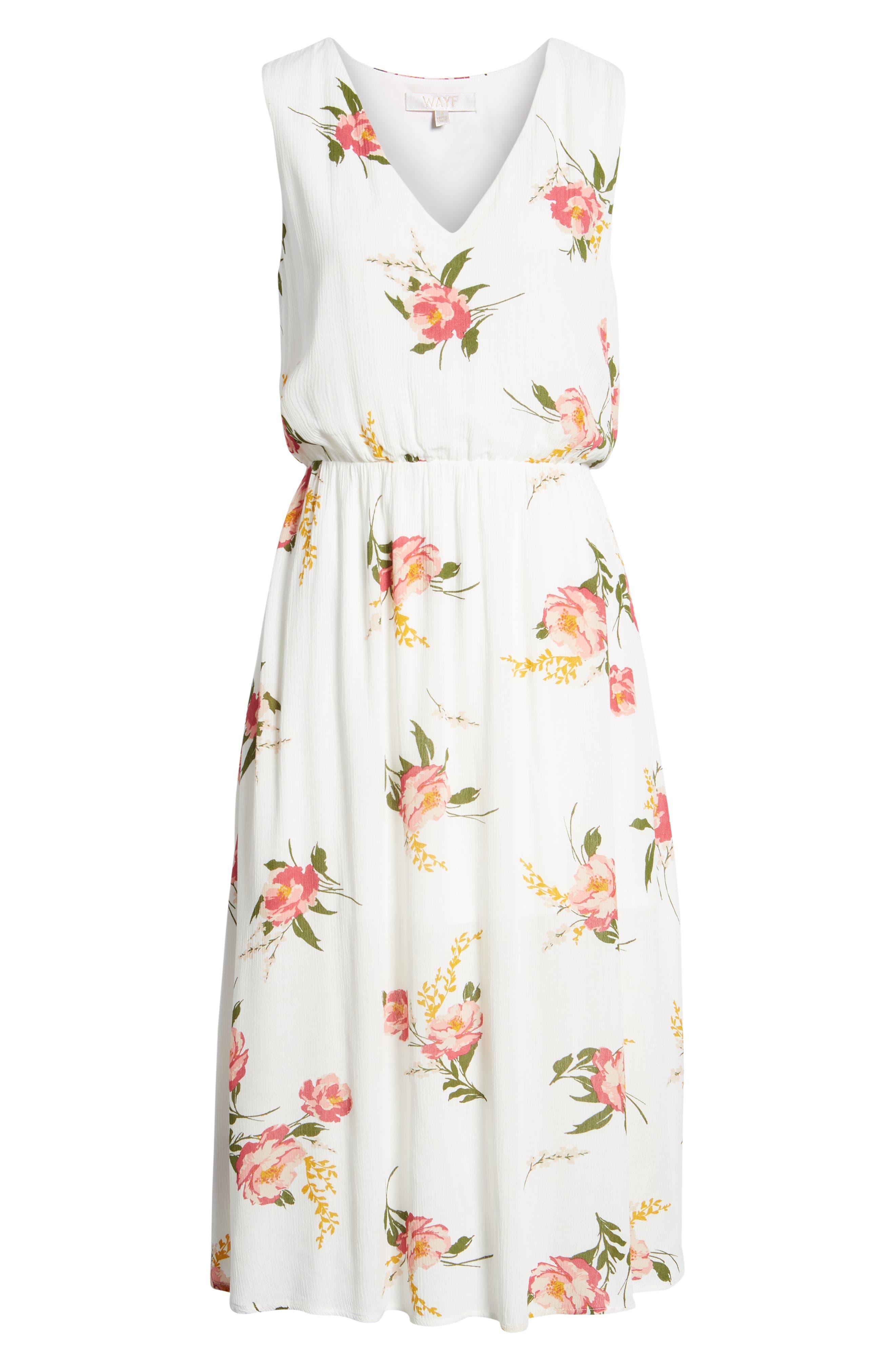 Sleeveless Blouson Midi Dress,                             Alternate thumbnail 7, color,                             900