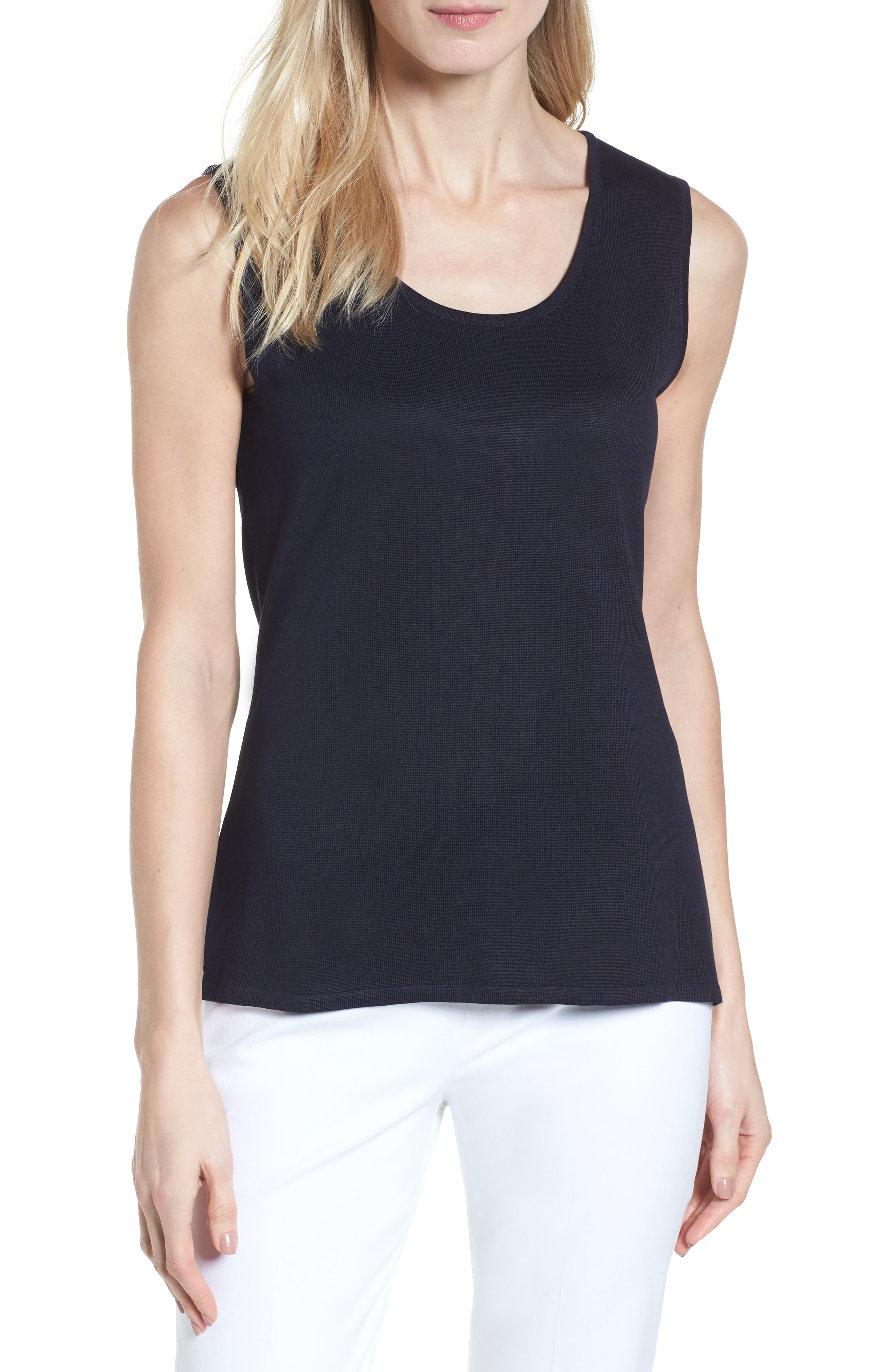 MING WANG Long Knit Tank, Main, color, 419