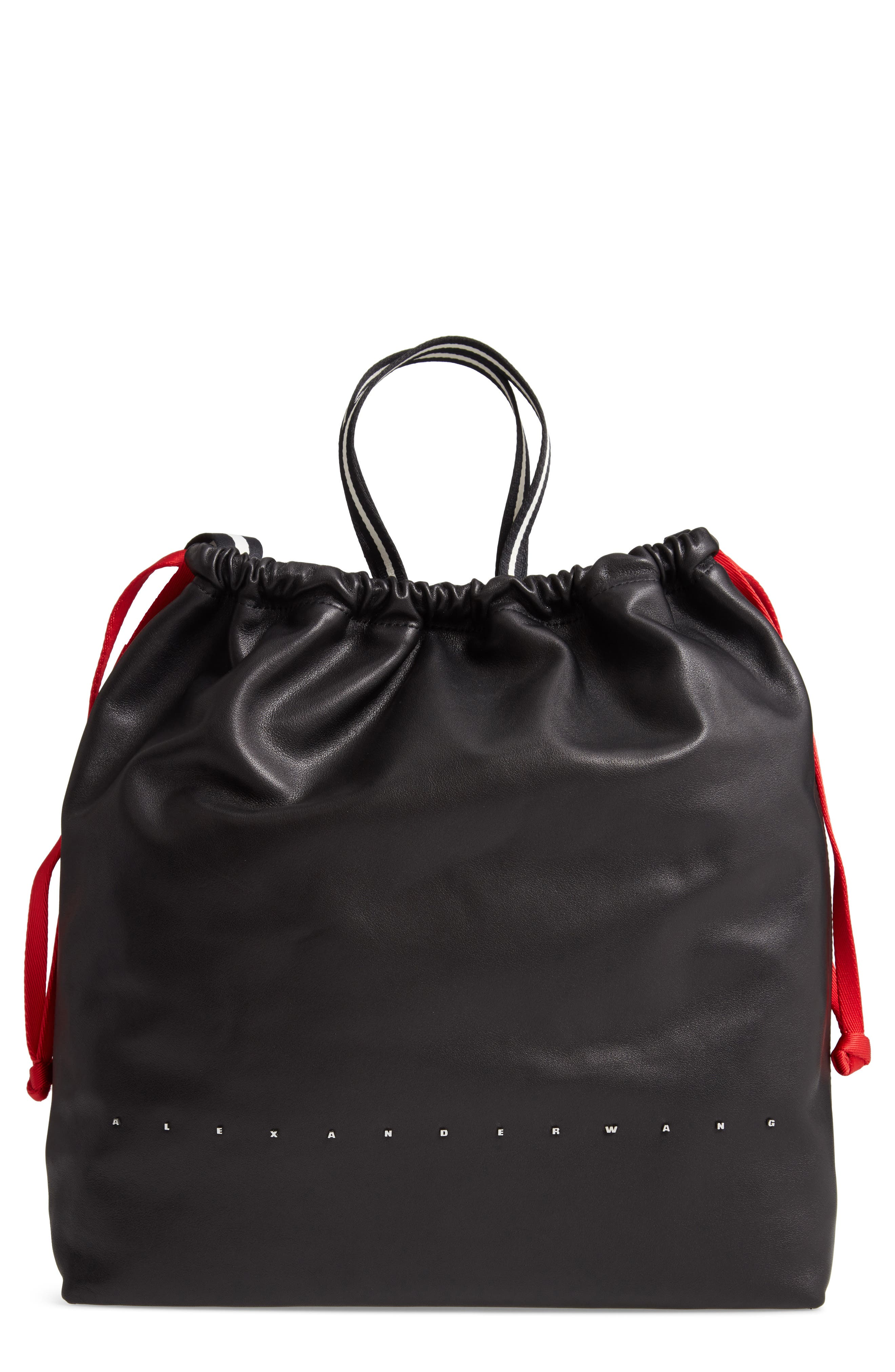 Wefty Drawstring Bucket Bag,                             Main thumbnail 1, color,                             BLACK