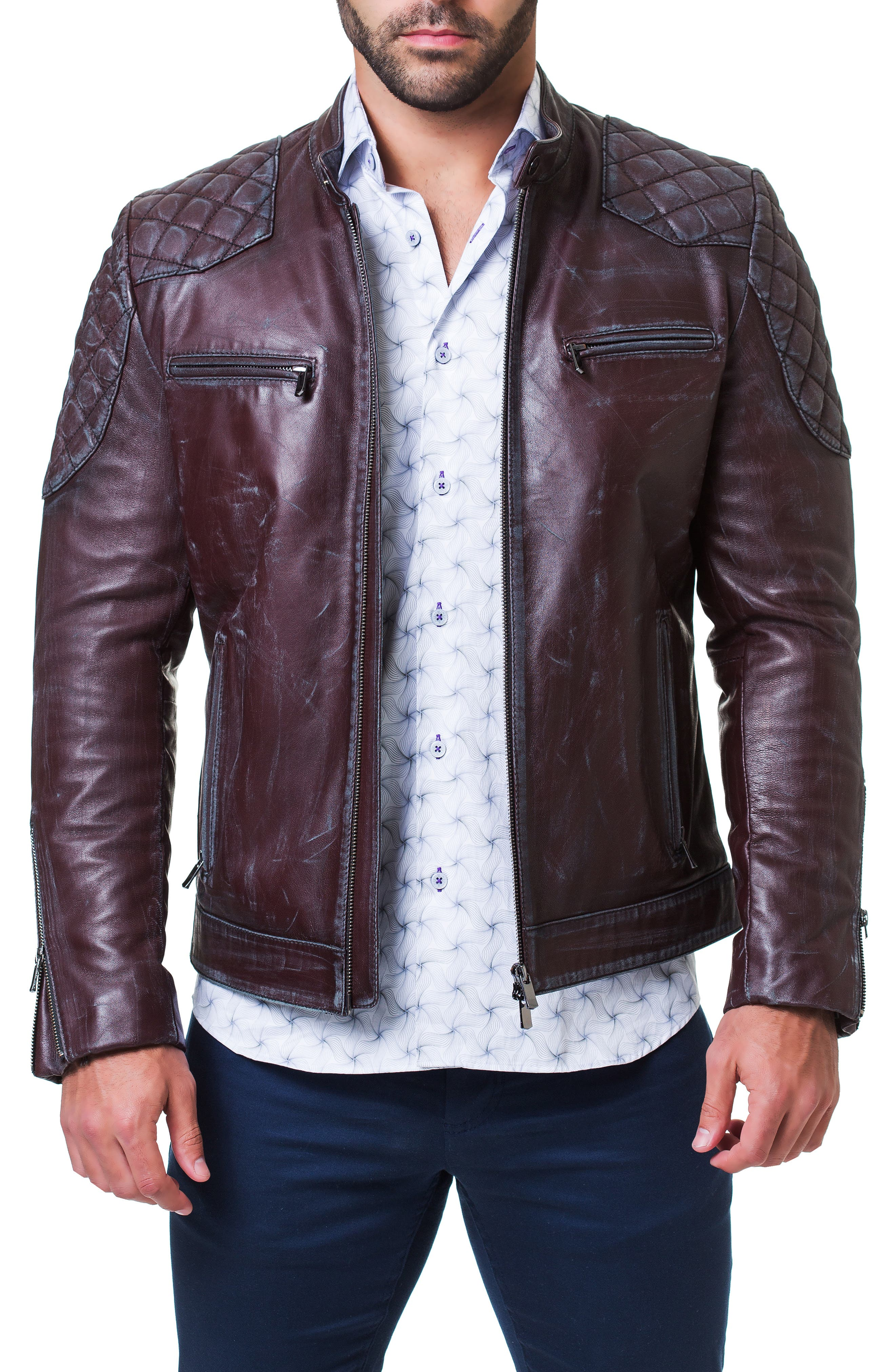 Quilted Leather Jacket,                         Main,                         color, RED