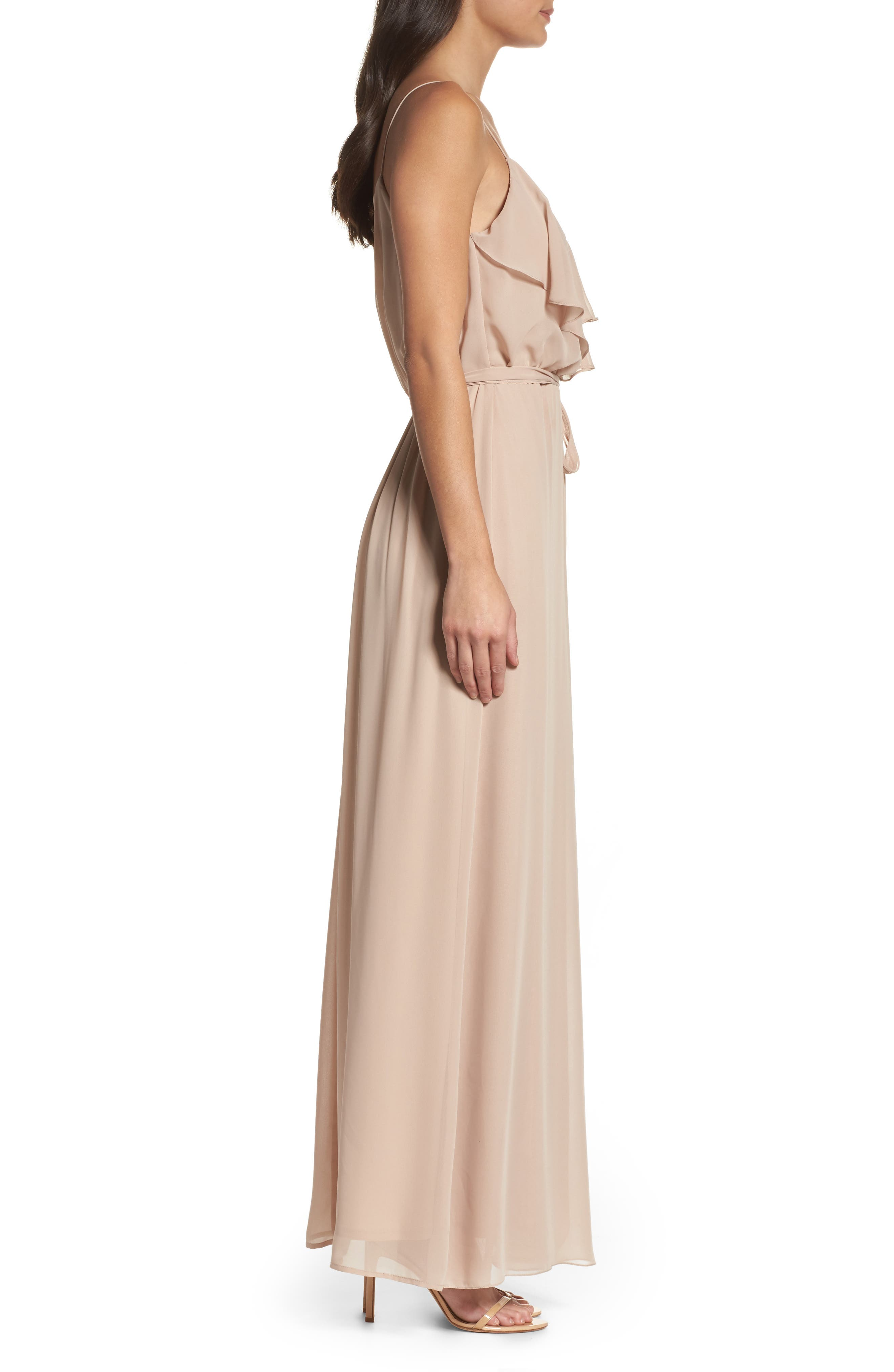 'Drew' Ruffle Front Chiffon Gown,                             Alternate thumbnail 39, color,