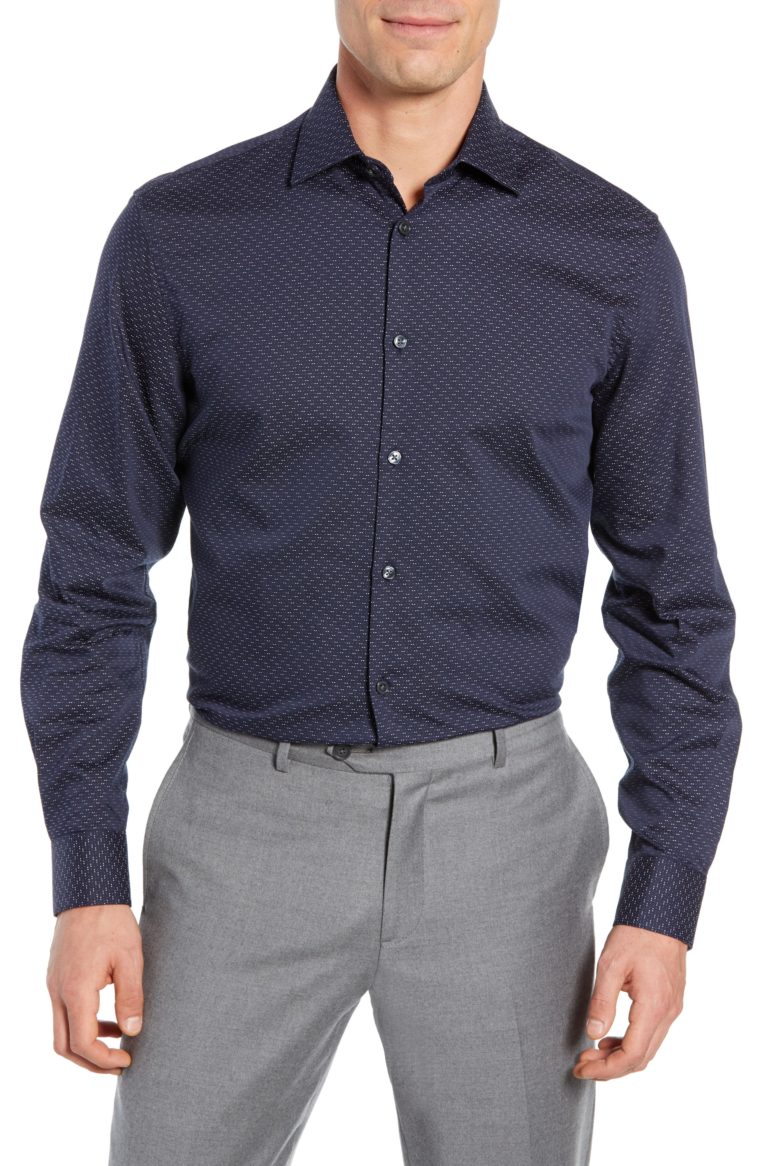 Regular Fit Print Sport Shirt,                         Main,                         color, INDIGO