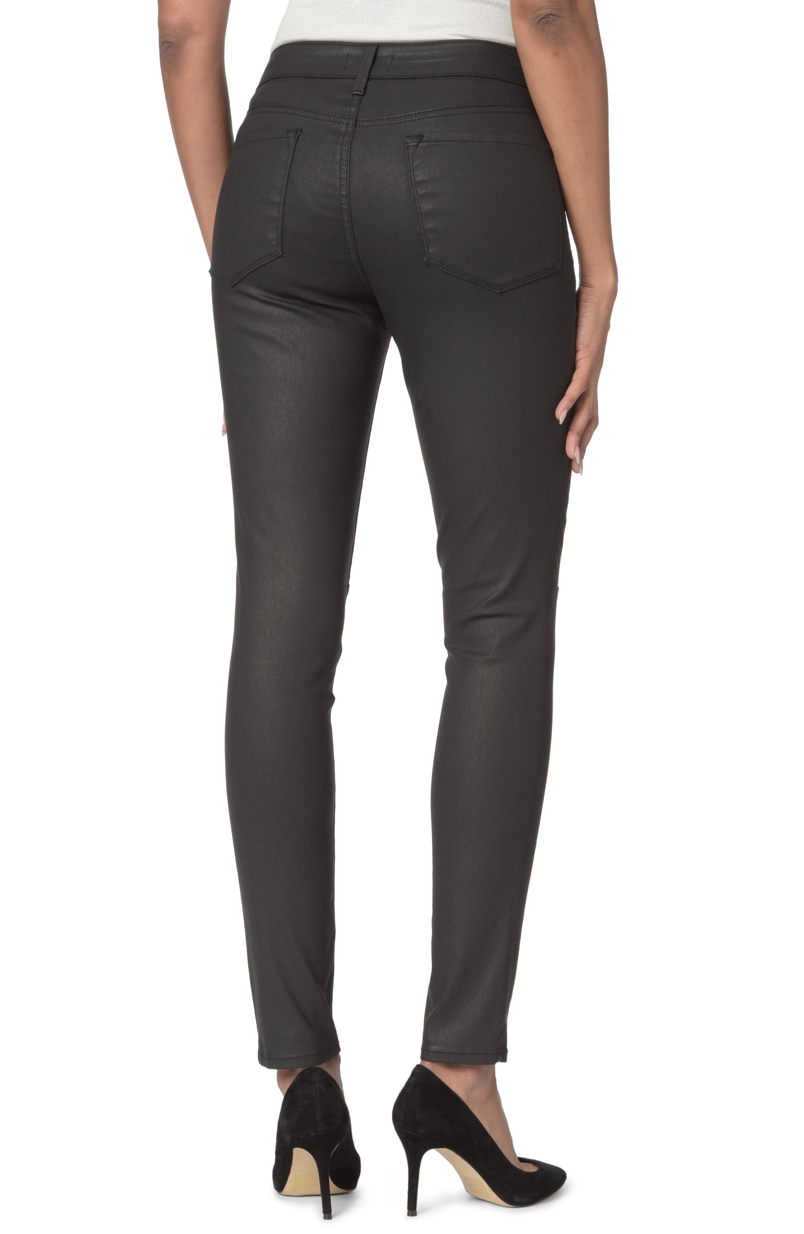 High Waist  Coated Stretch Skinny Jeans,                             Alternate thumbnail 4, color,