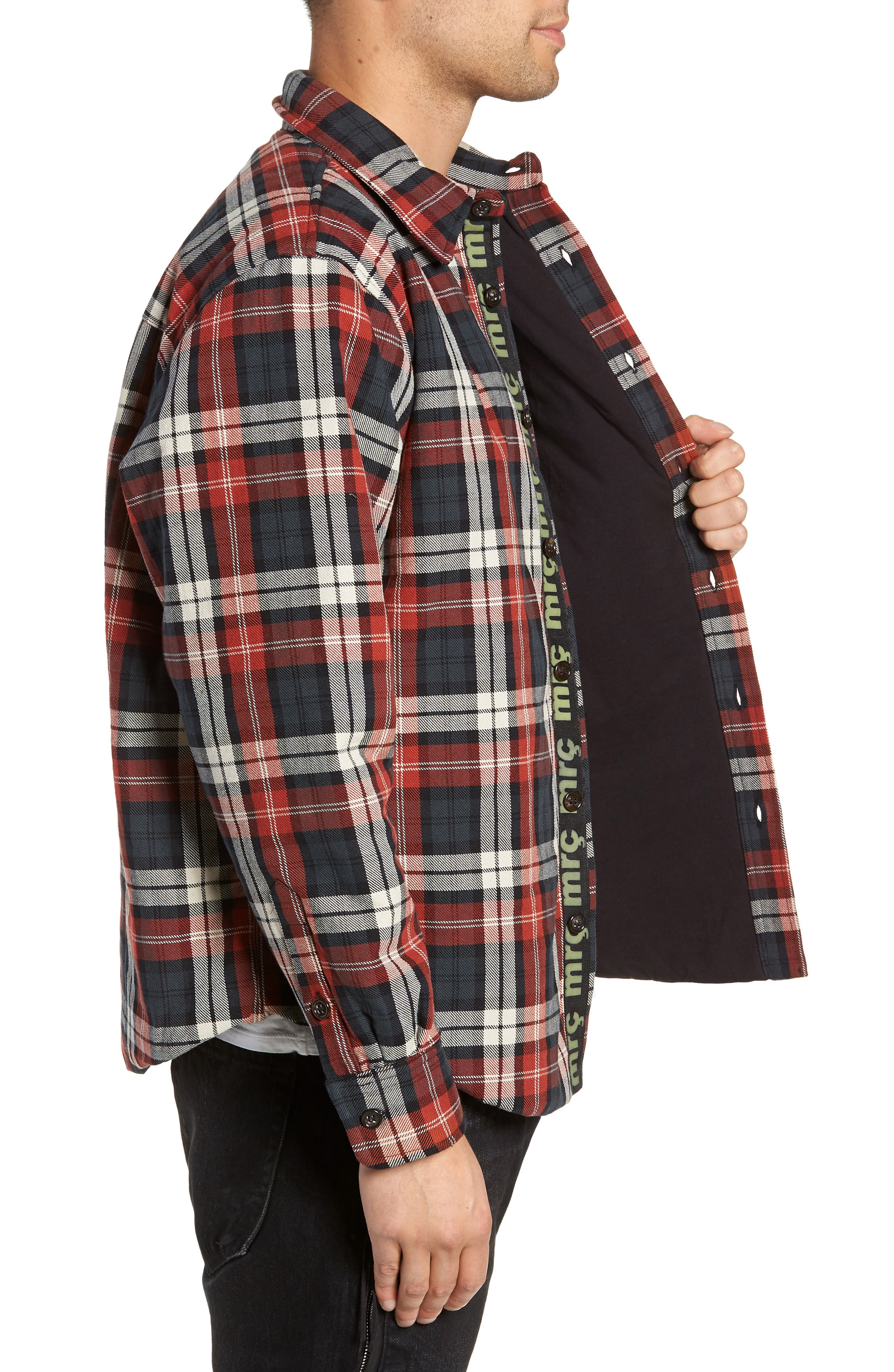 Puffy Classic Fit Work Shirt,                             Alternate thumbnail 3, color,                             RED PLAID