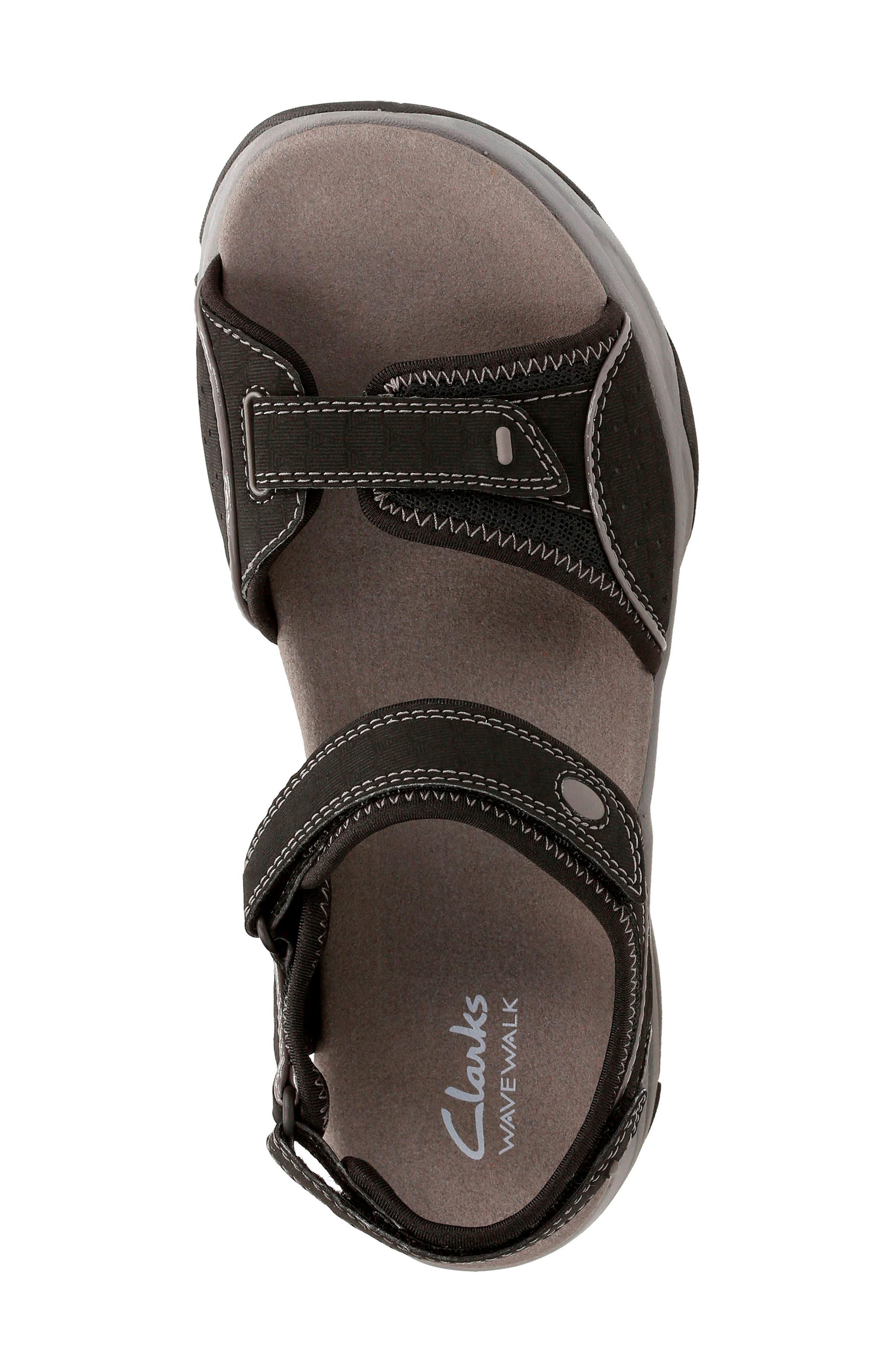 Wave Grip Sandal,                             Alternate thumbnail 4, color,                             BLACK FABRIC