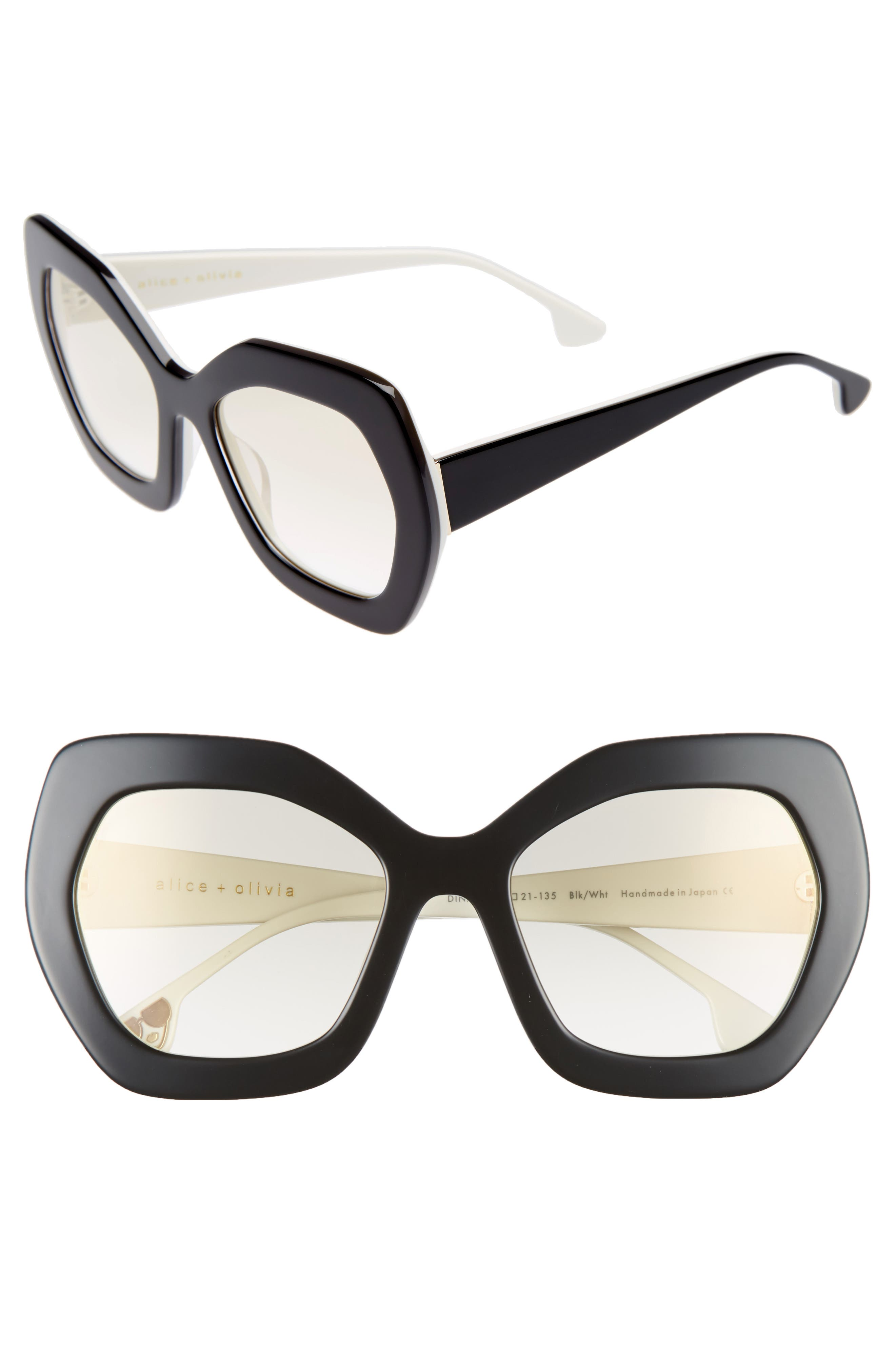 Dinah 55mm Butterfly Sunglasses,                             Main thumbnail 1, color,                             001