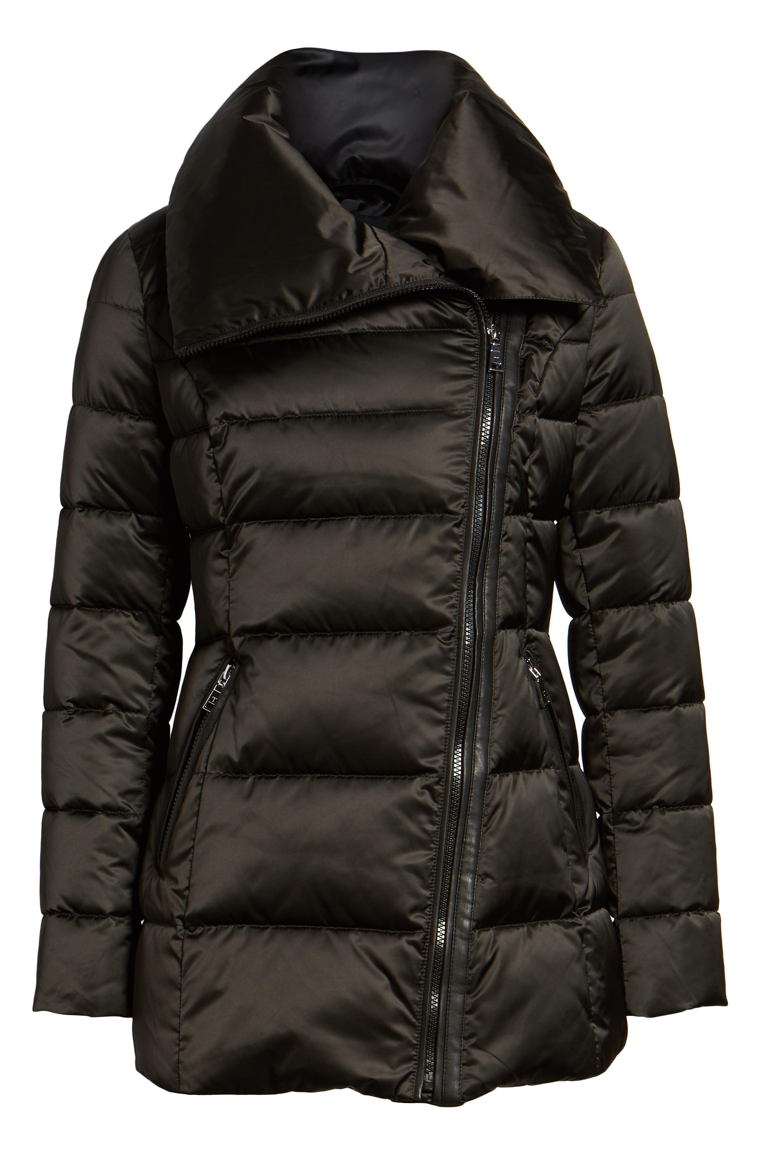 Blair Moto Style Puffer Jacket,                             Alternate thumbnail 6, color,                             BLACK