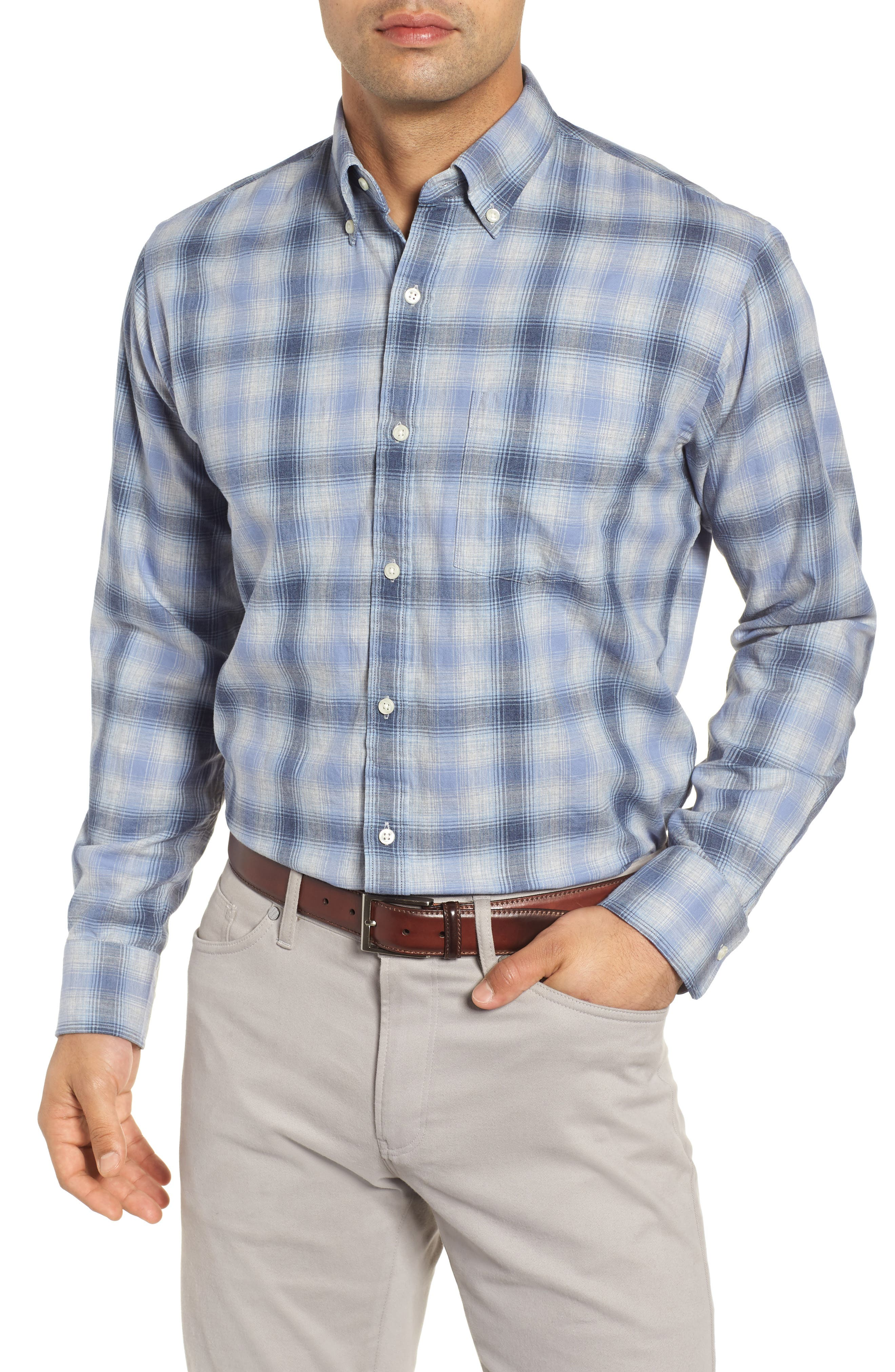 Mountain Fog Plaid Sport Shirt,                         Main,                         color, ATLANTIC BLUE