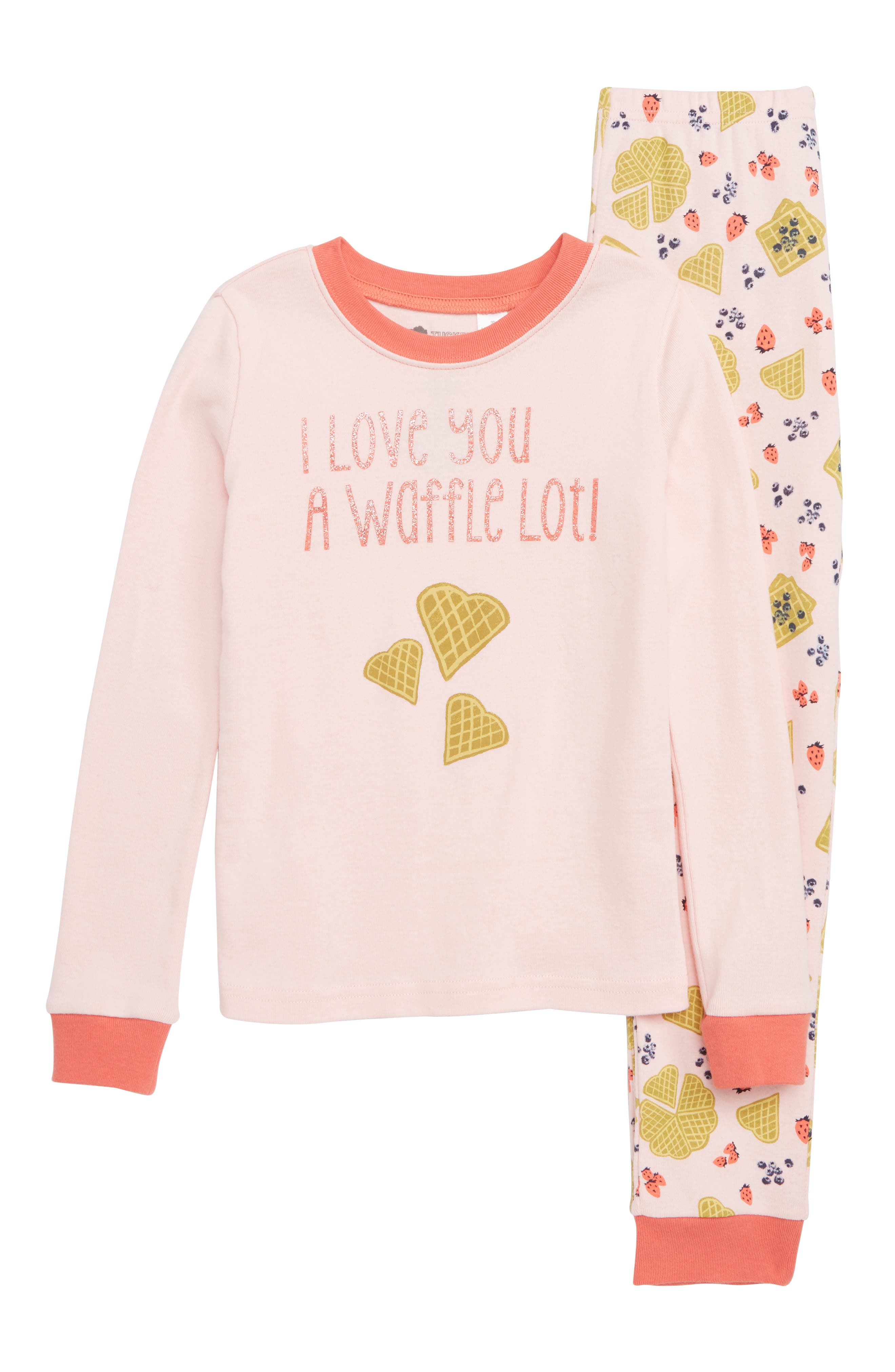 Fitted Two-Piece Pajamas,                         Main,                         color, PINK BABY WAFFLE BRUNCH