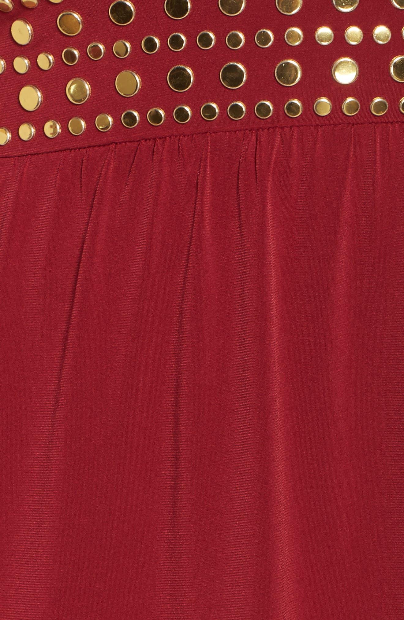 Studded V-Neck Dress,                             Alternate thumbnail 5, color,                             MAROON