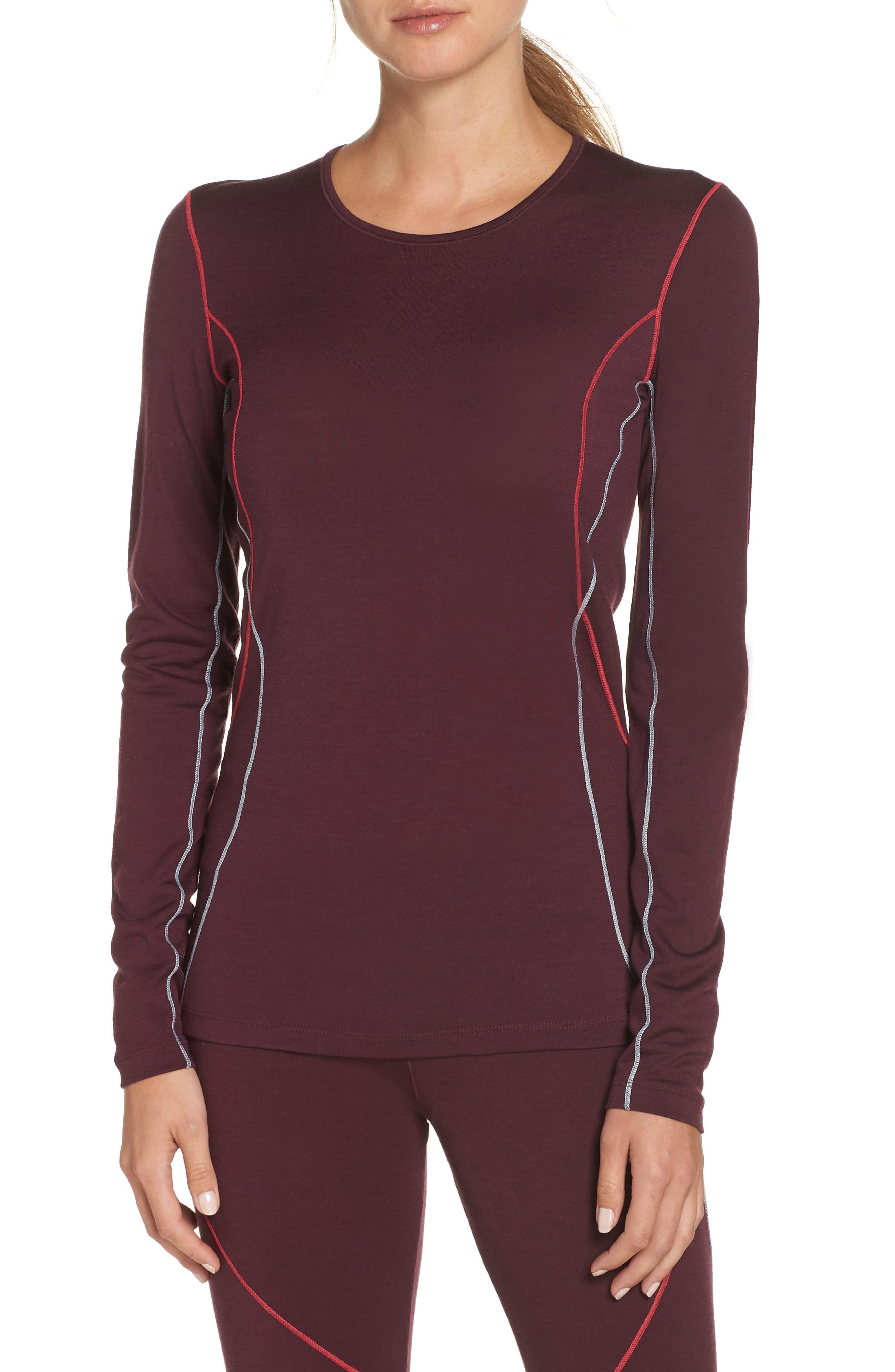 Icebreaker Oasis Long Sleeve Merino Wool Base Layer T-Shirt, Burgundy