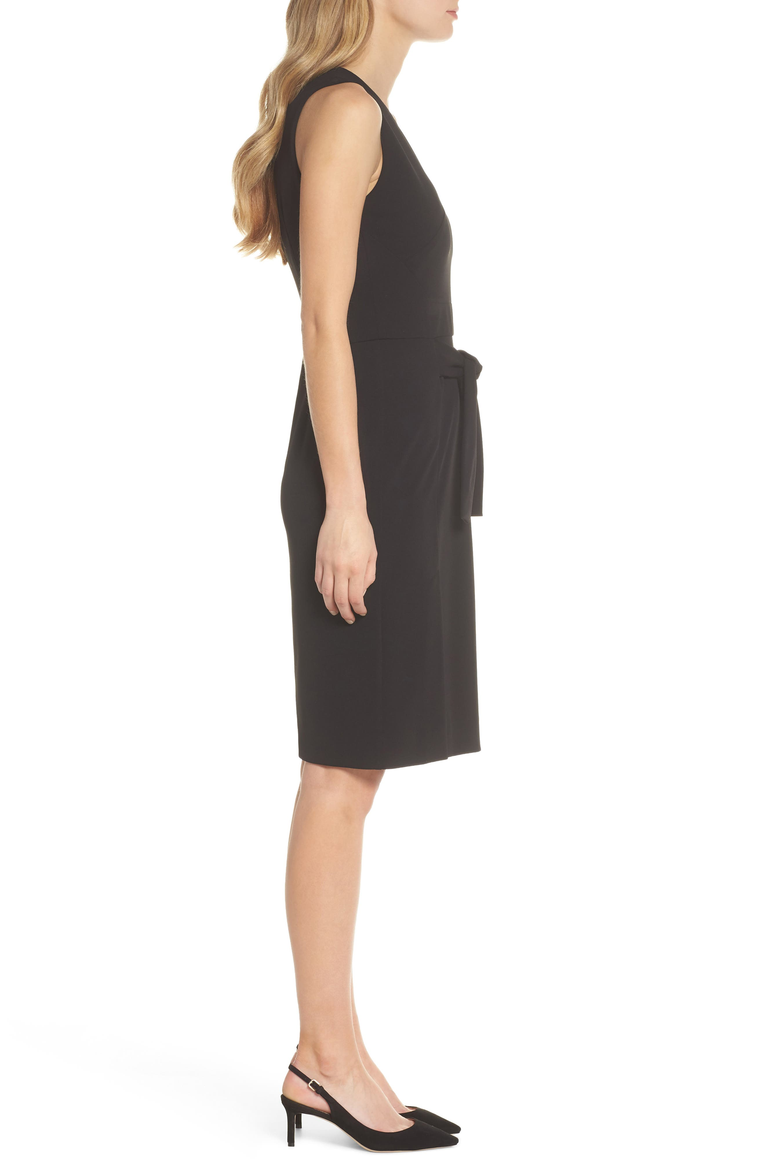 Scuba Crepe Sheath Dress,                             Alternate thumbnail 3, color,                             BLACK