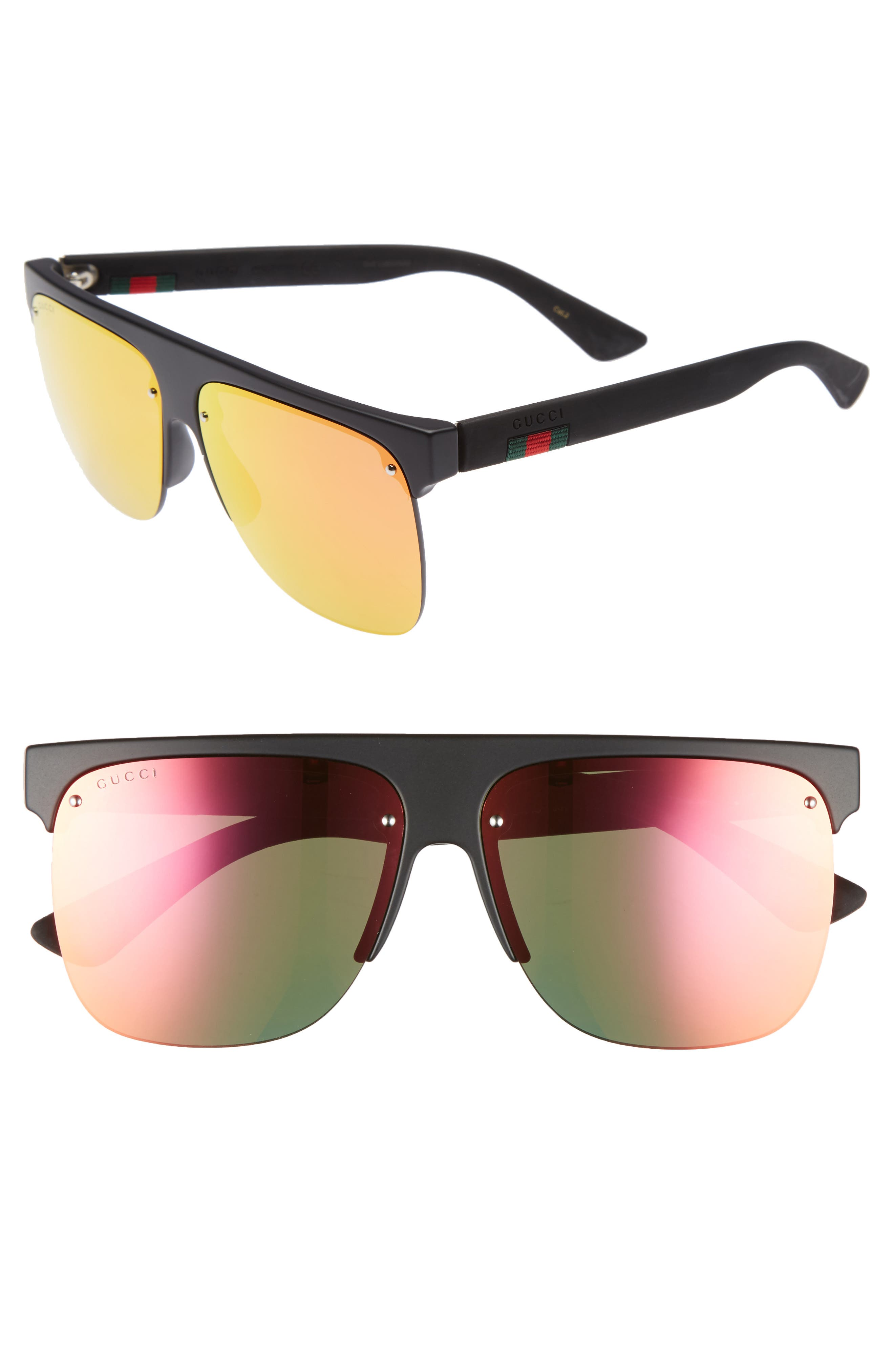 60mm Semi Rimless Polarized Sunglasses,                             Main thumbnail 1, color,                             001