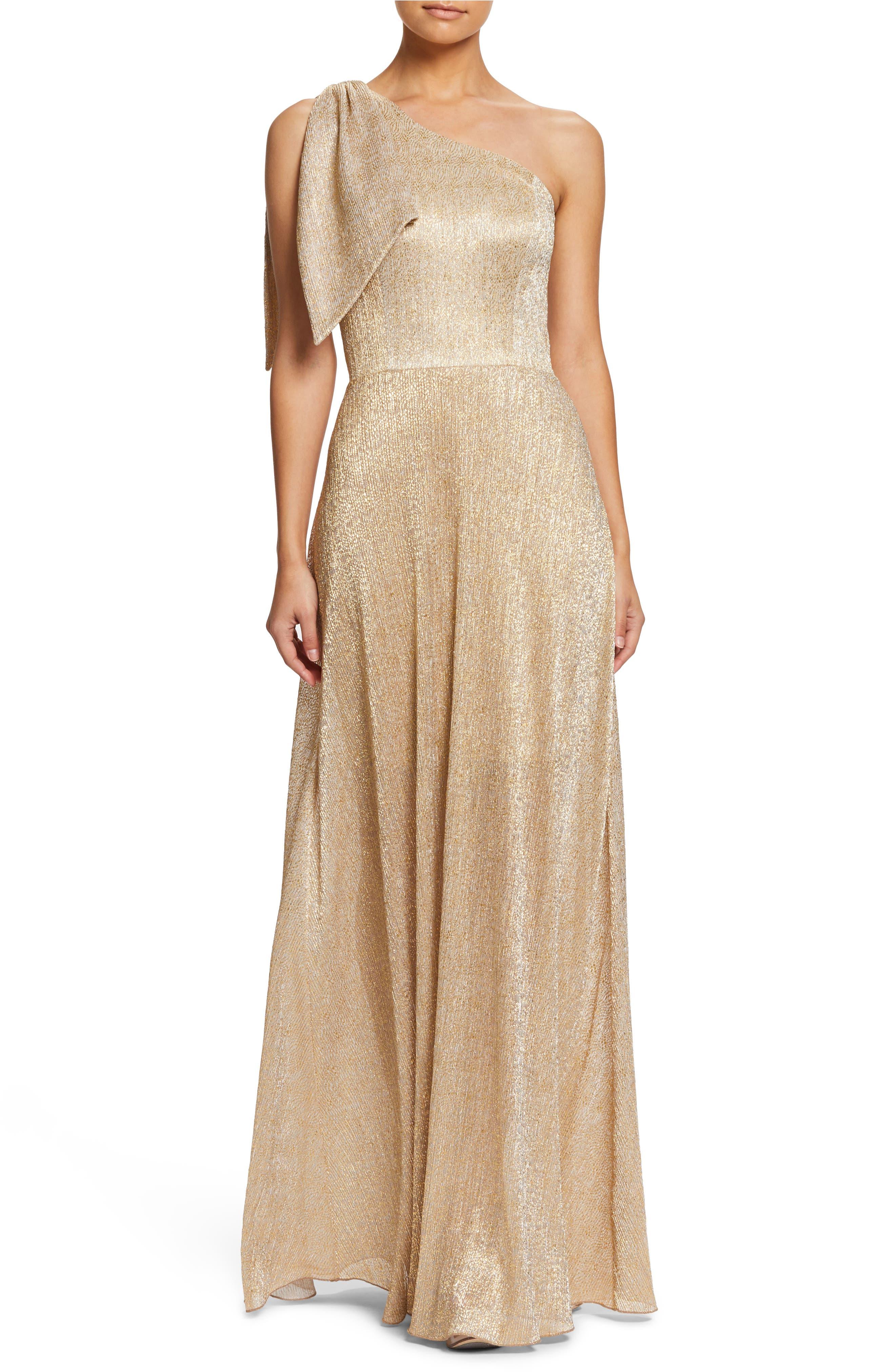Savannah One-Shoulder Gown, Main, color, GOLD