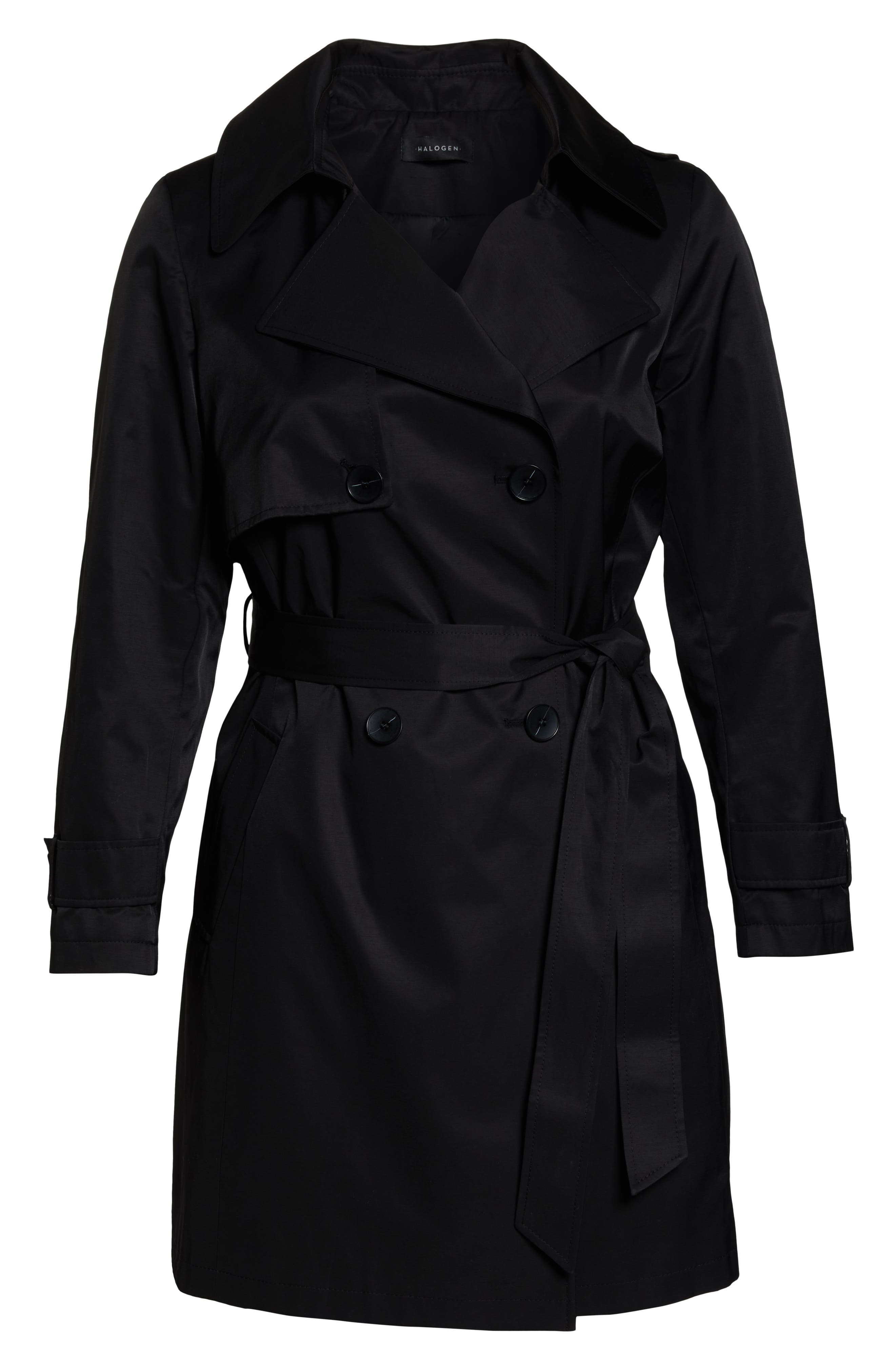 HALOGEN<SUP>®</SUP>,                             Double Breasted Hooded Trench Coat,                             Alternate thumbnail 6, color,                             BLACK