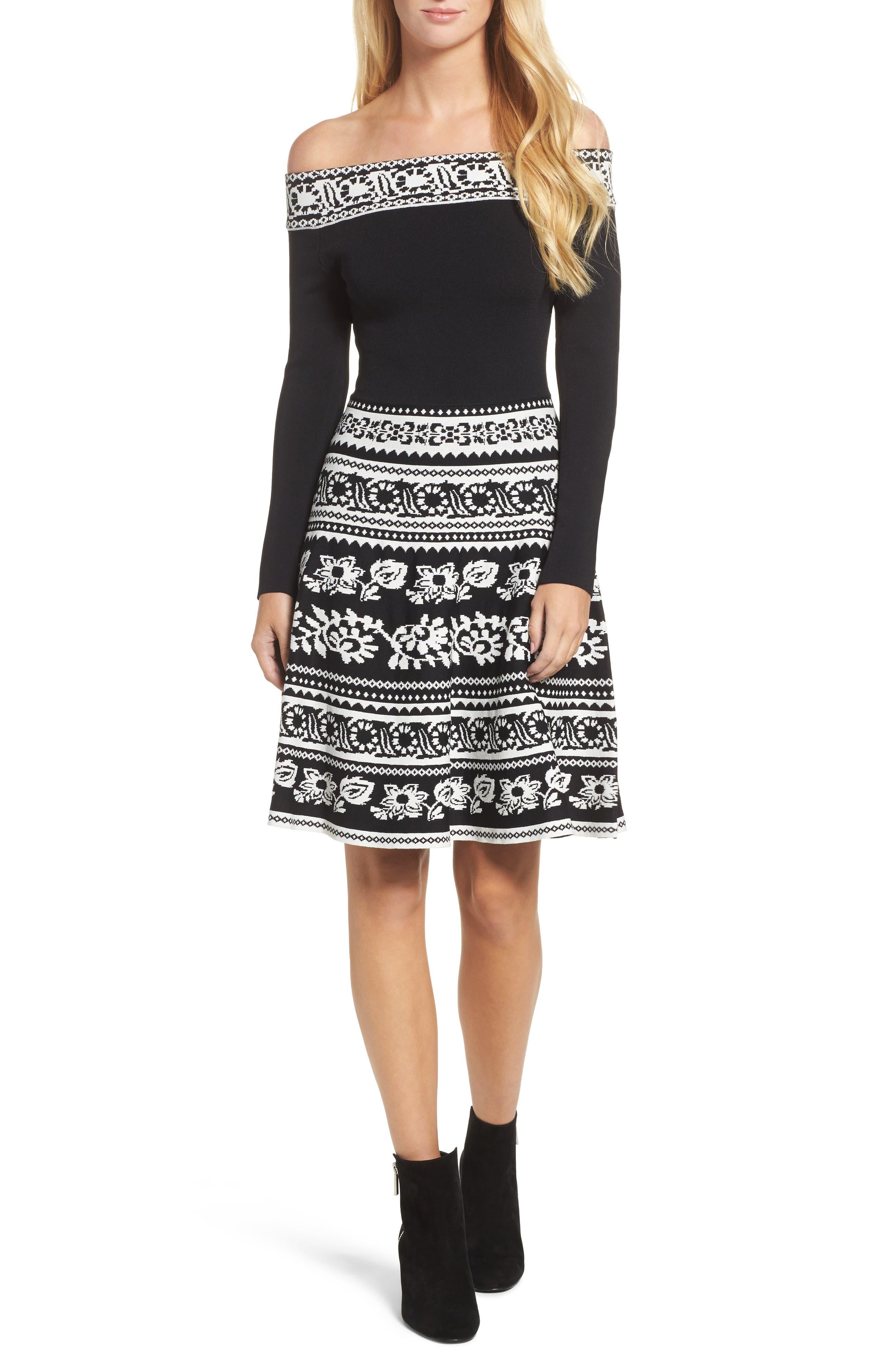Pattern Off the Shoulder A-Line Knit Dress,                             Main thumbnail 1, color,                             012