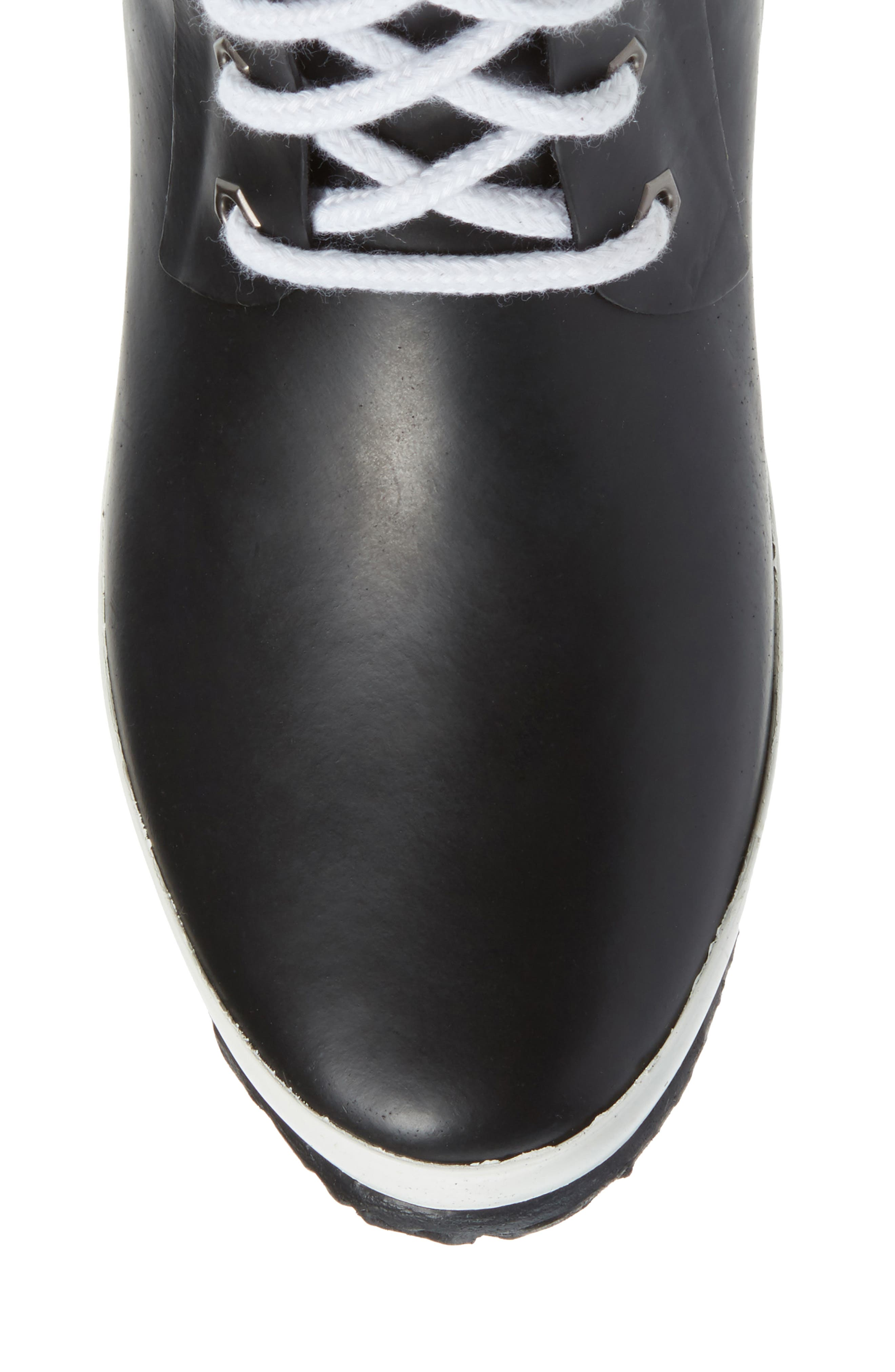Lace-Up Waterproof Rain Boot,                             Alternate thumbnail 5, color,                             BLACK
