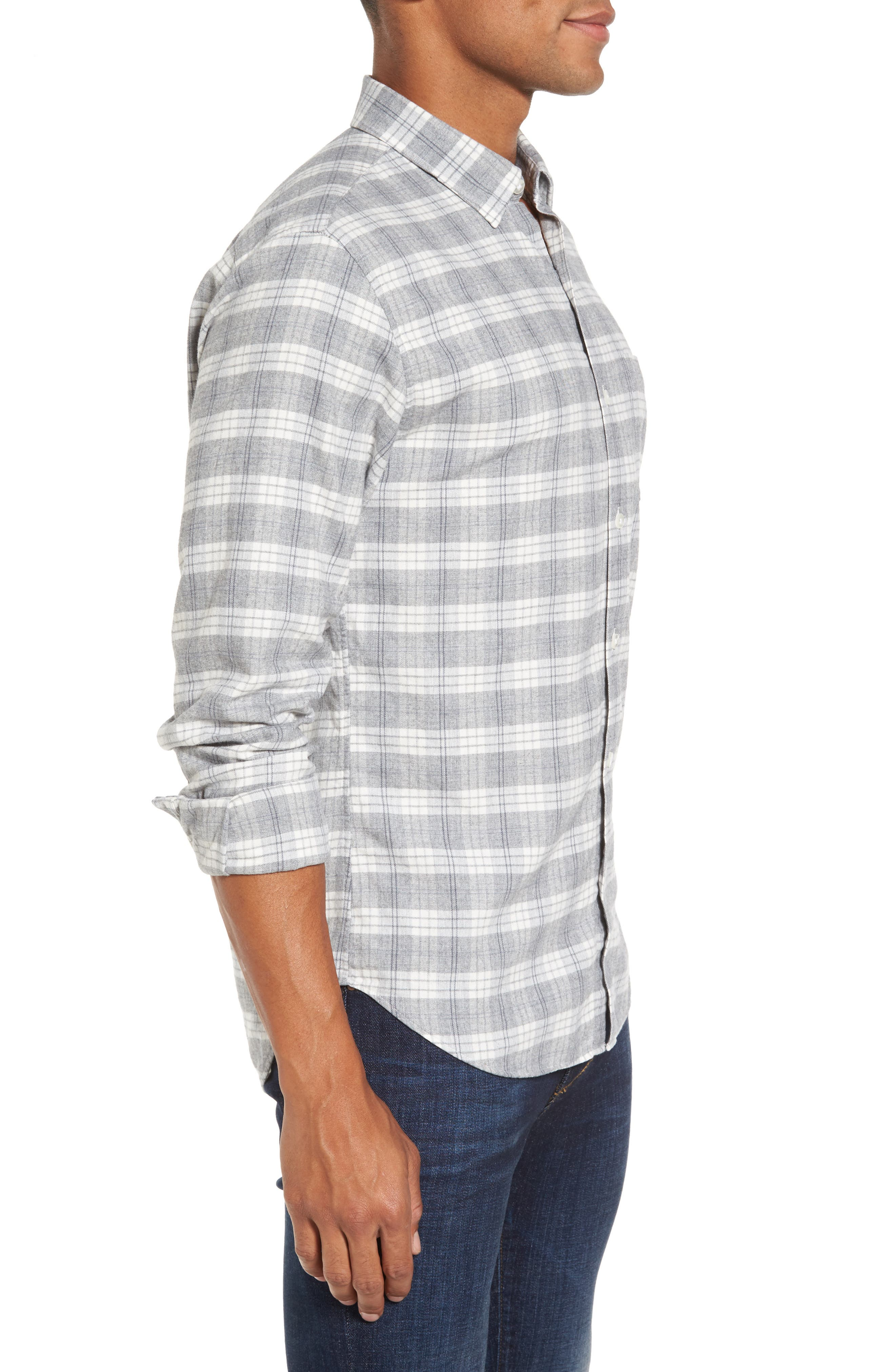 Slim Fit Plaid Twill Sport Shirt,                             Alternate thumbnail 3, color,                             020