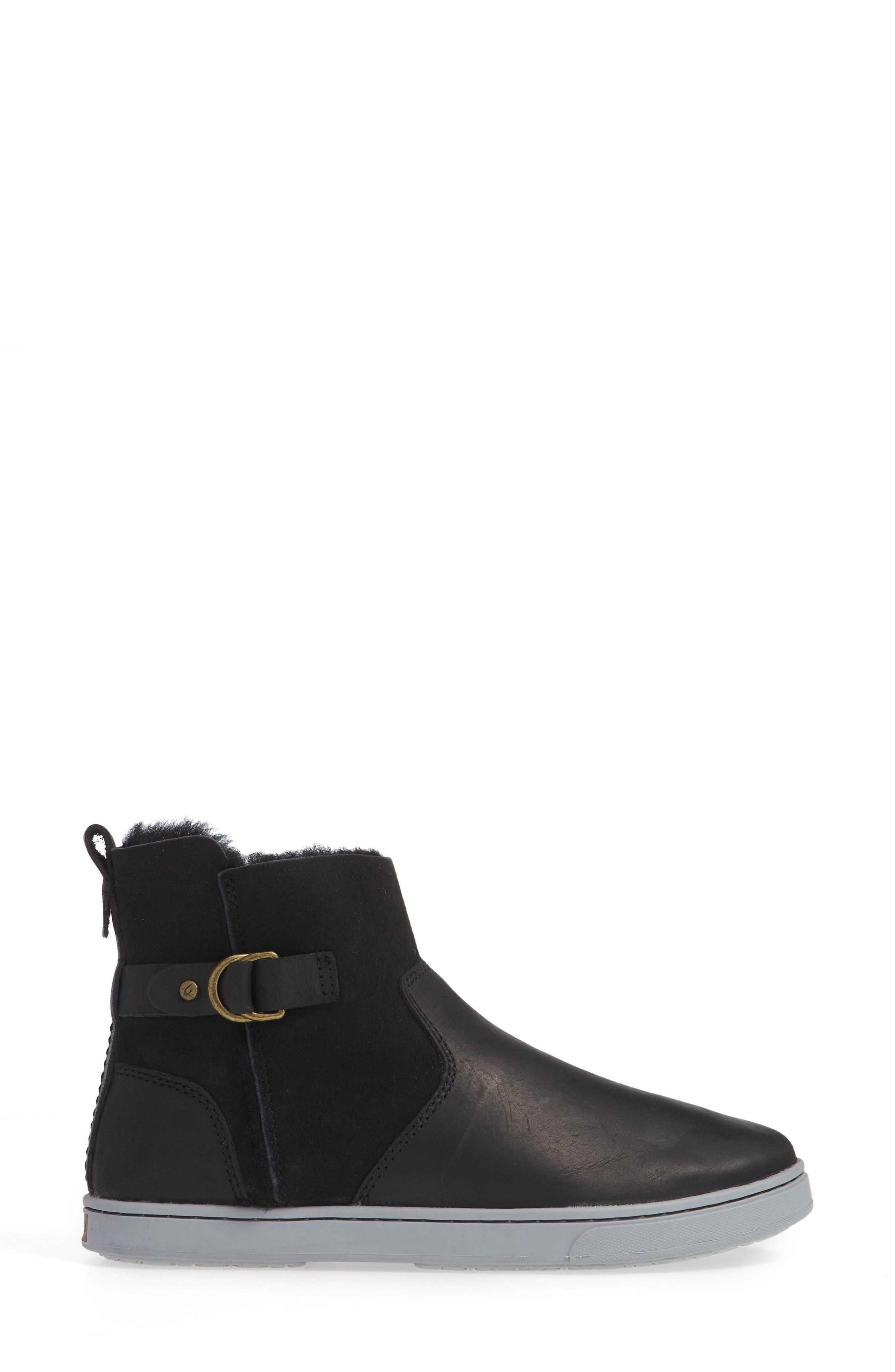 Pehuea Pa'I Genuine Shearling Sneaker Boot,                             Alternate thumbnail 3, color,                             BLACK/ BLACK LEATHER