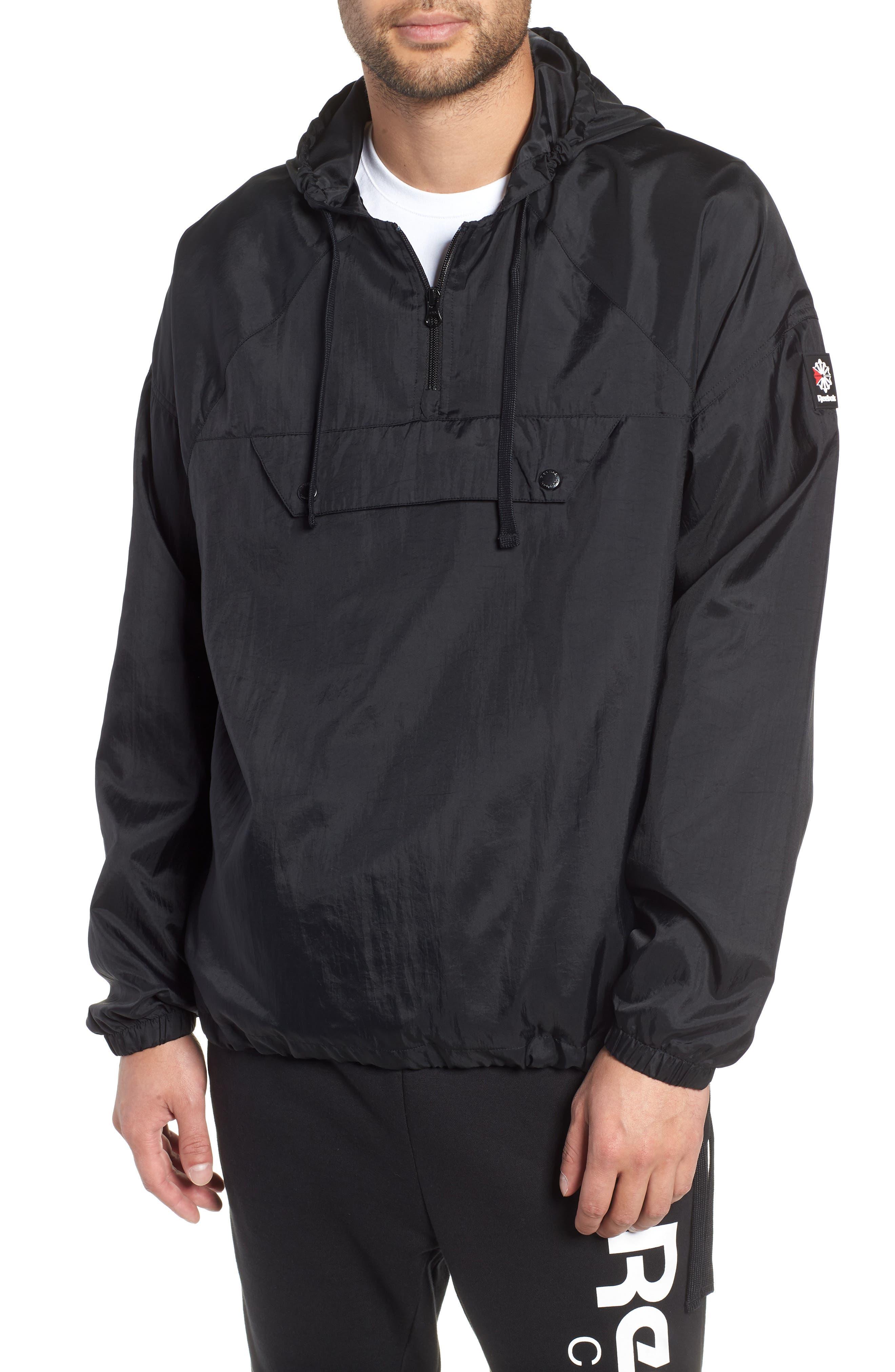 Half Zip Hooded Pullover,                             Main thumbnail 1, color,                             BLACK