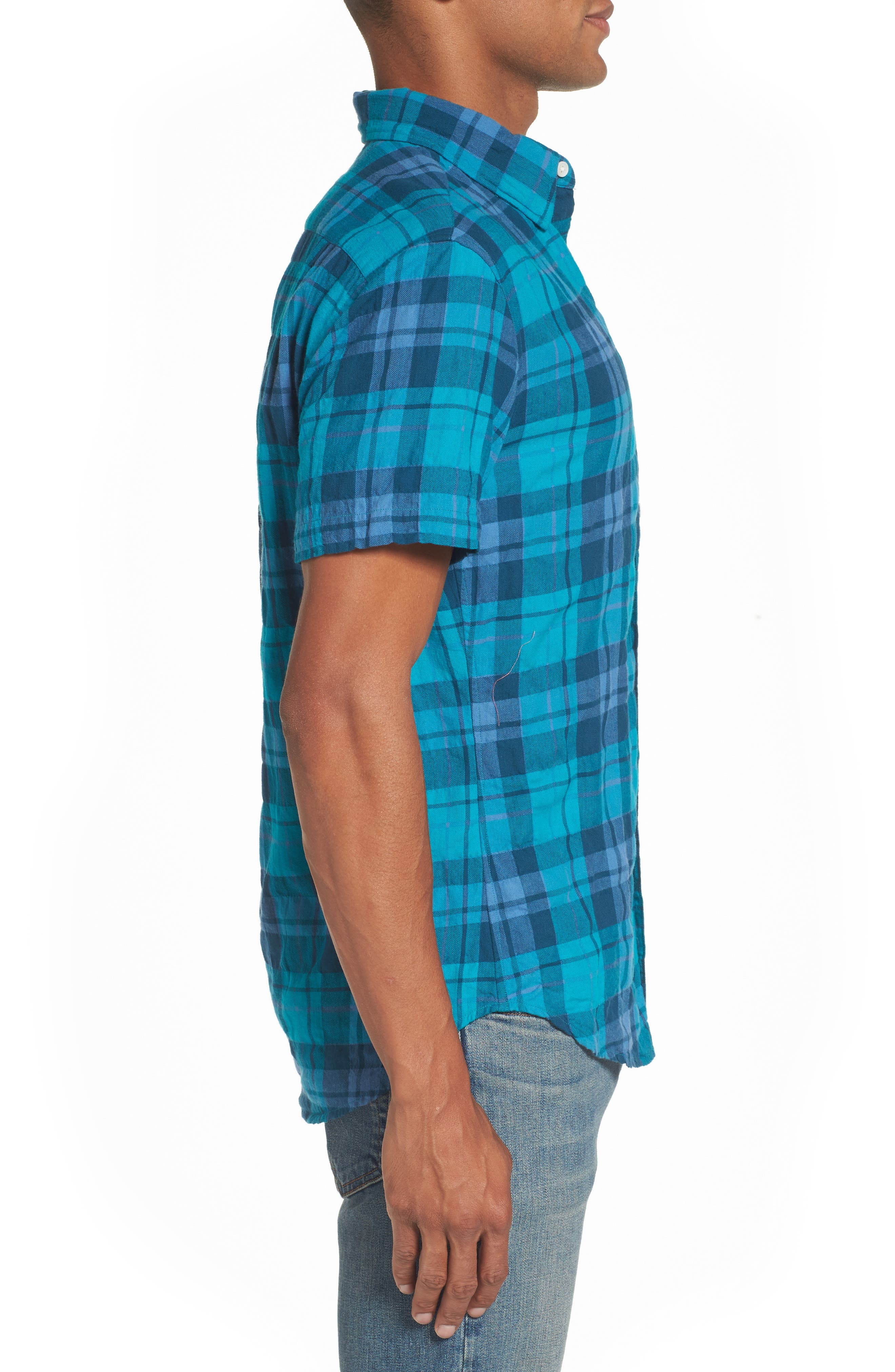 Riveria Slim Fit Check Woven Shirt,                             Alternate thumbnail 3, color,
