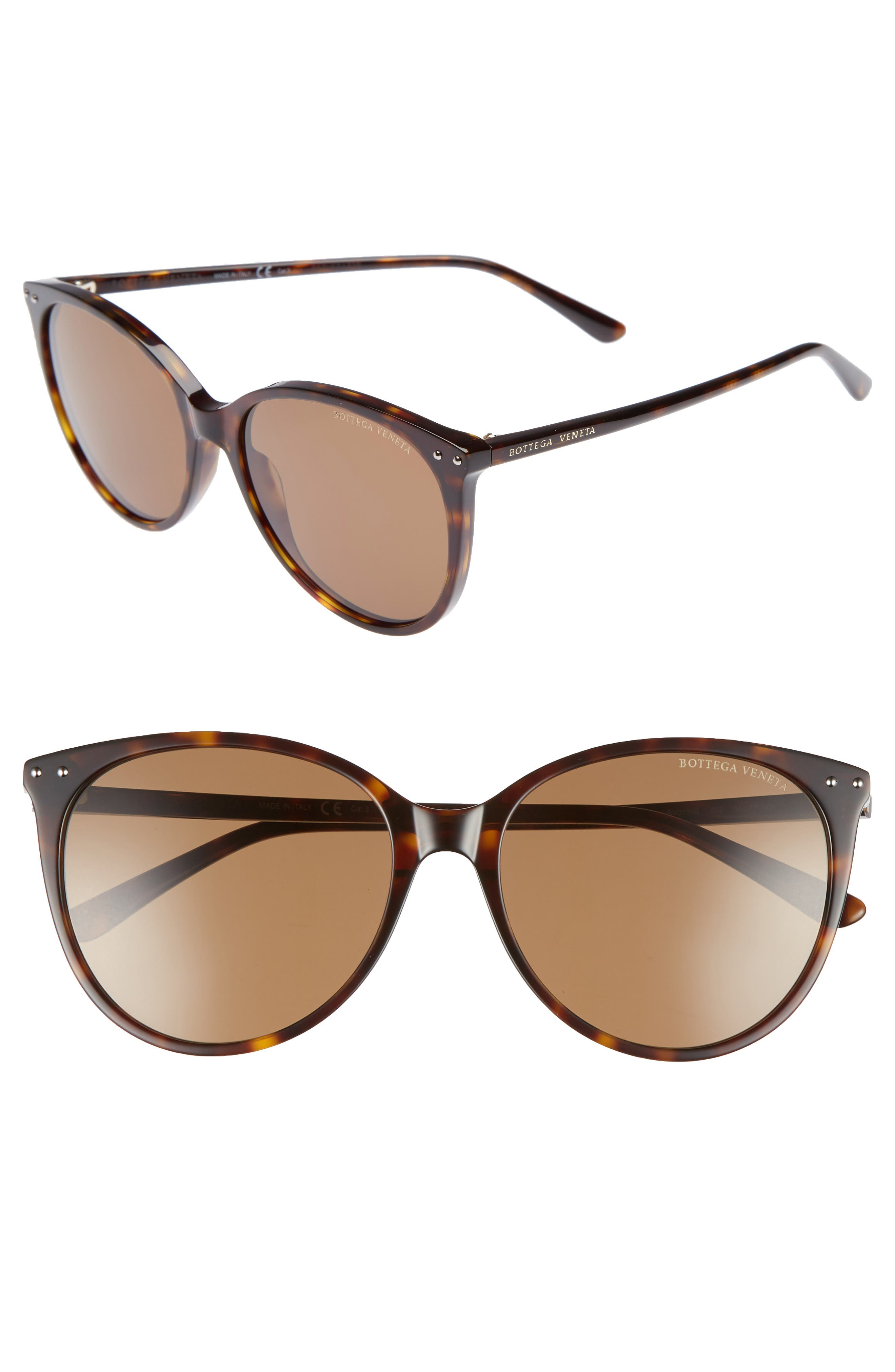 55mm Cat Eye Sunglasses,                         Main,                         color, DARK HAVANA