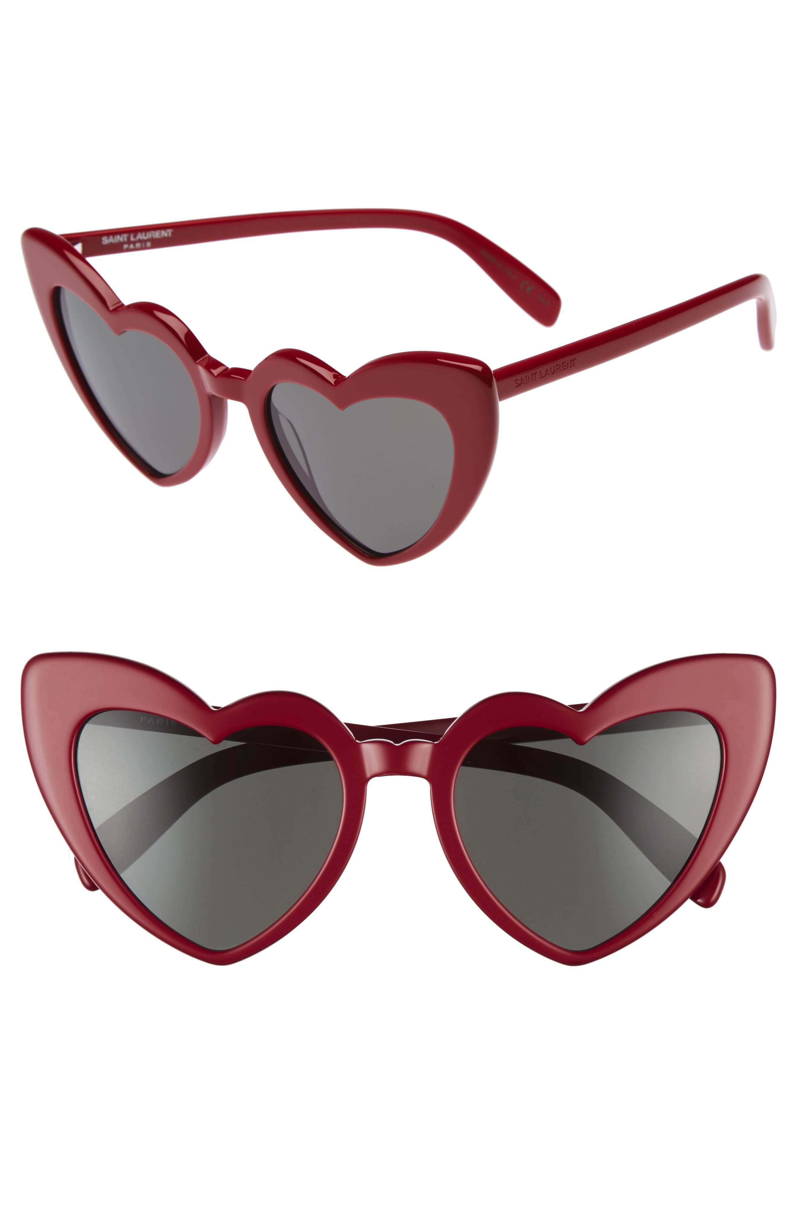 Loulou 54mm Heart Sunglasses,                             Main thumbnail 1, color,                             RED/ GREY
