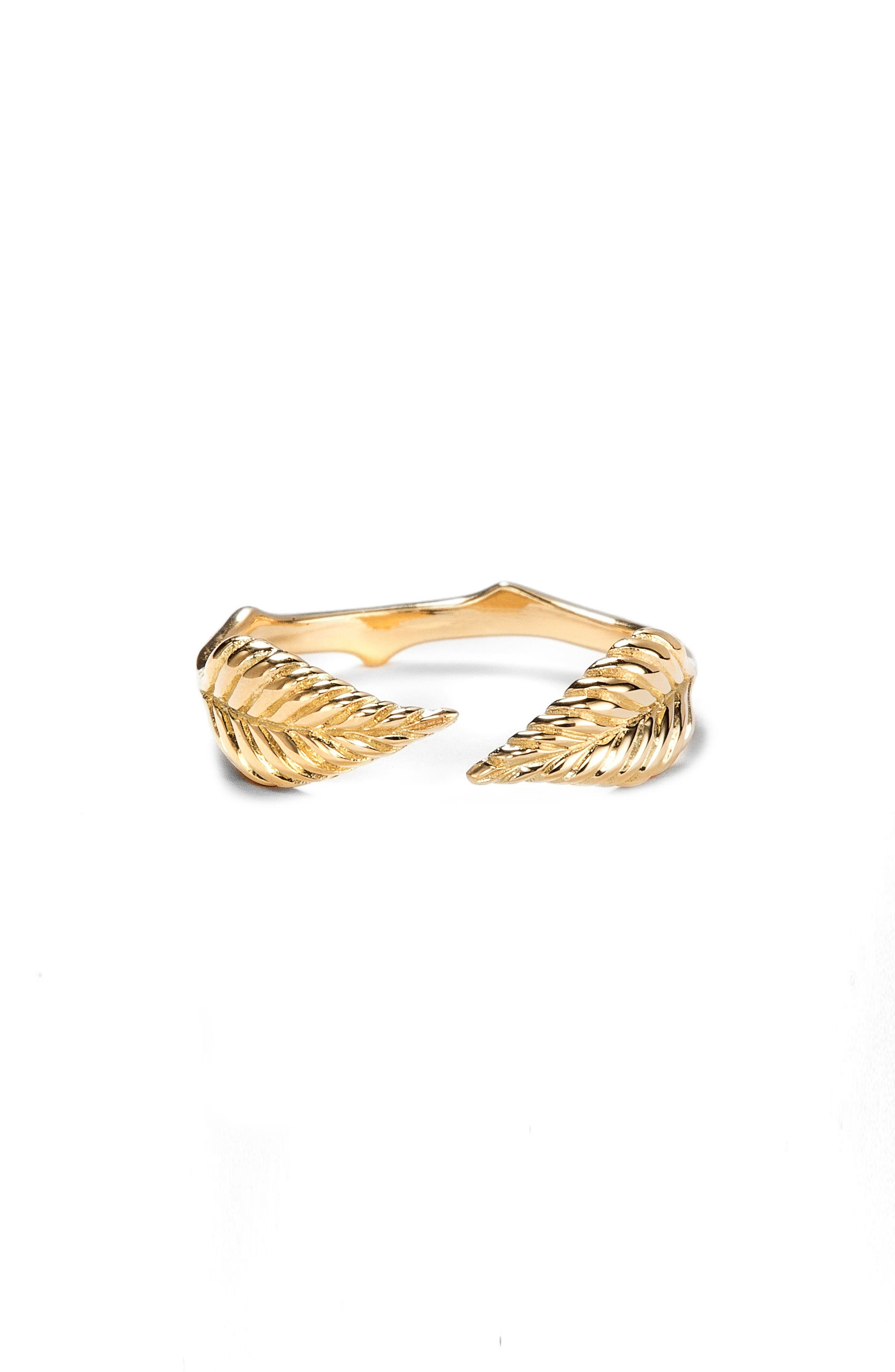 Double Leaf Open Ring,                             Main thumbnail 1, color,                             YELLOW GOLD
