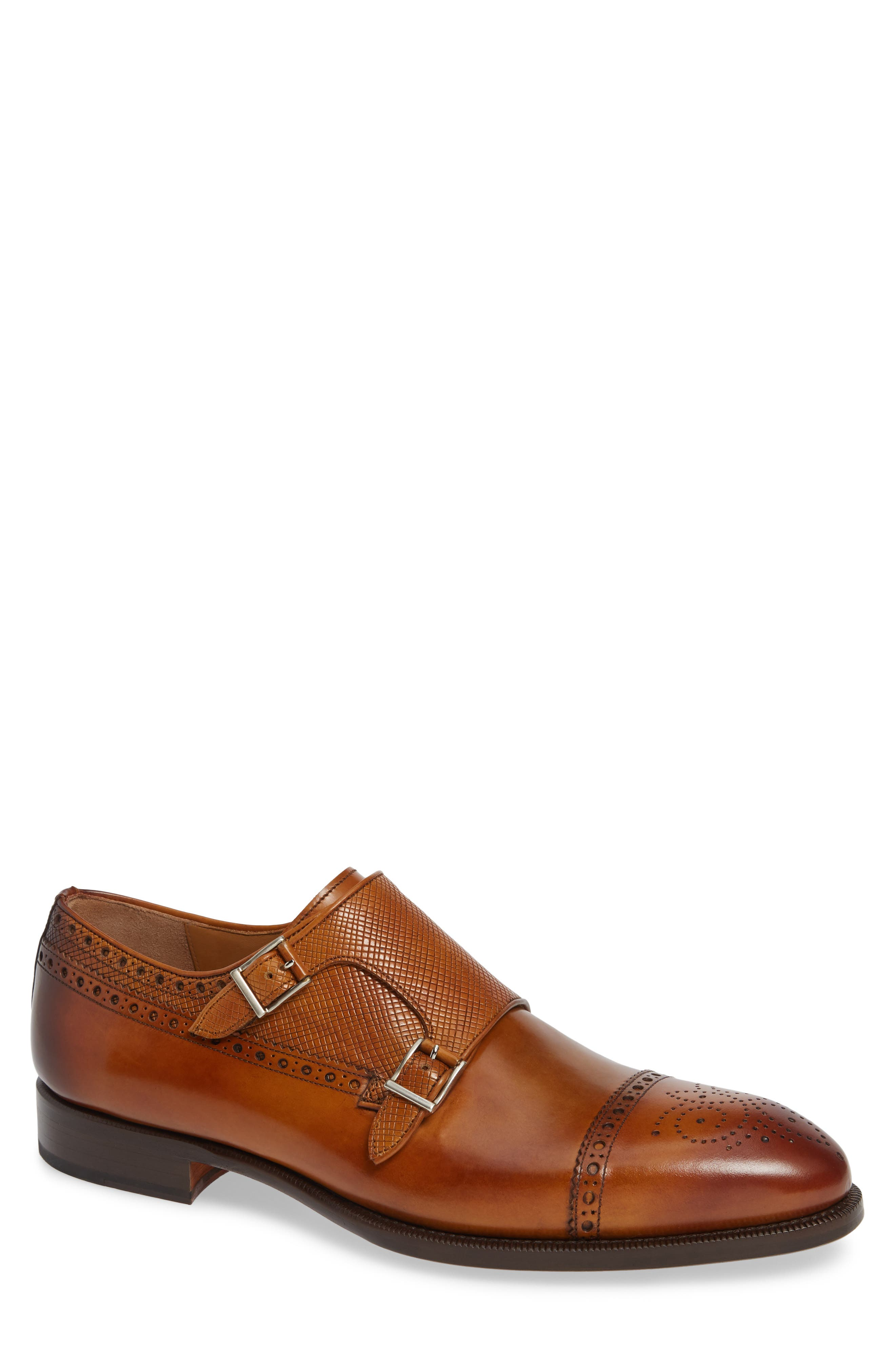 Valda Double Strap Cap Toe Monk Shoe,                             Main thumbnail 1, color,                             BROWN LEATHER