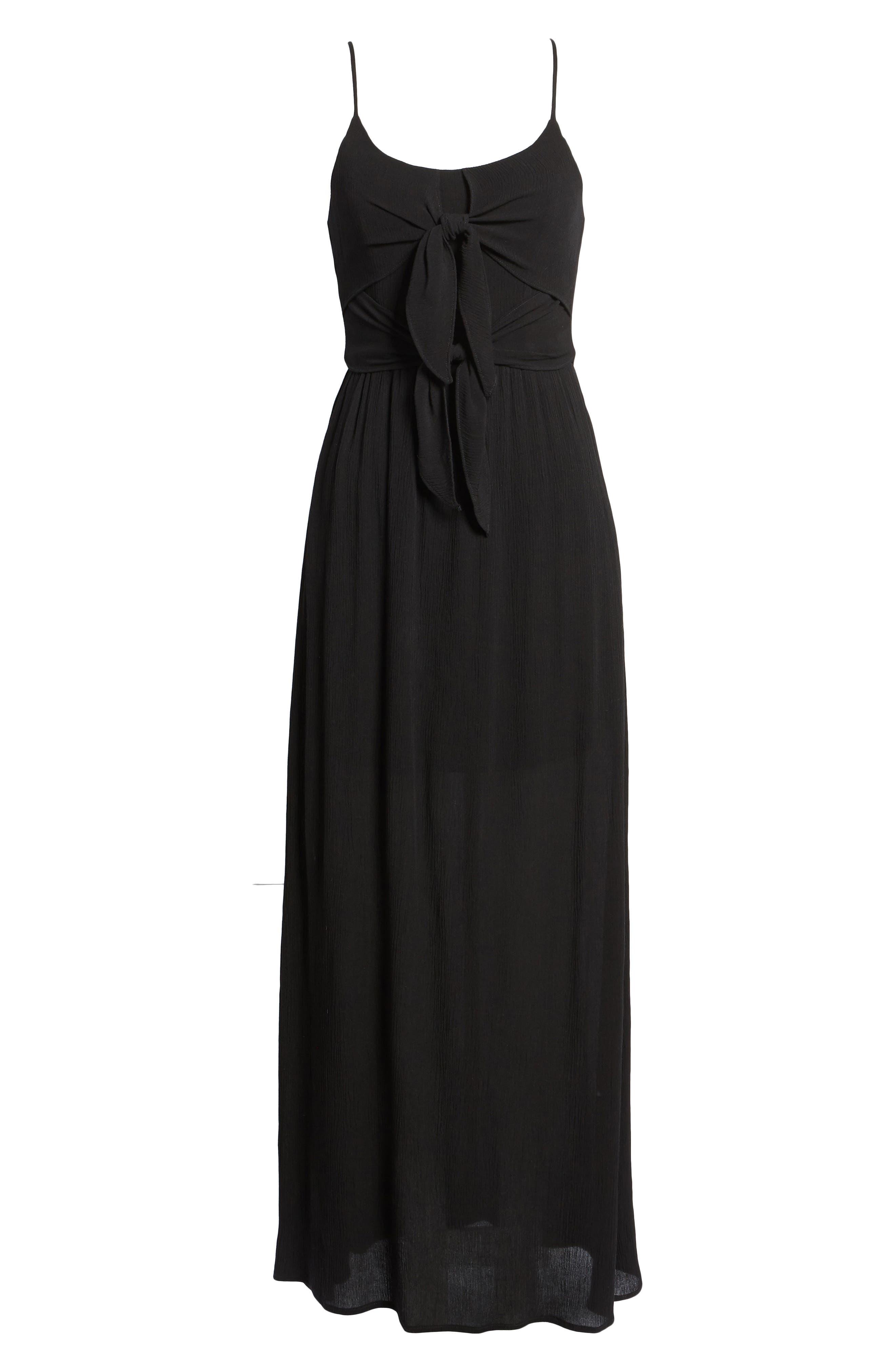 Tie Front Maxi Dress,                             Alternate thumbnail 6, color,                             001