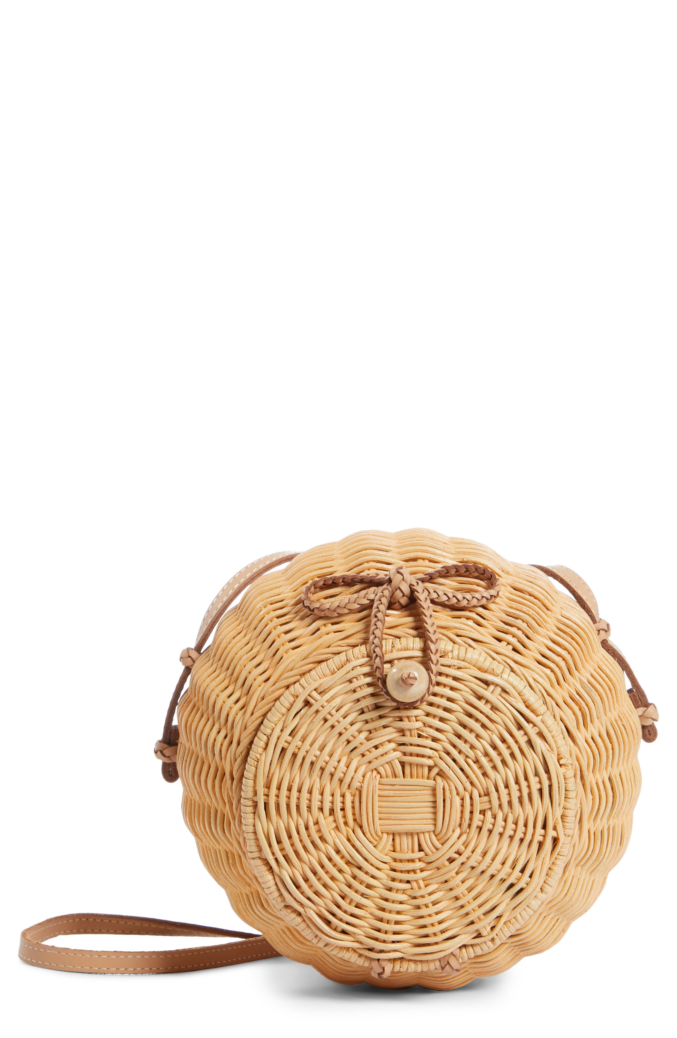ULLA JOHNSON Pomme Woven Rattan Shoulder Bag, Main, color, NATURAL